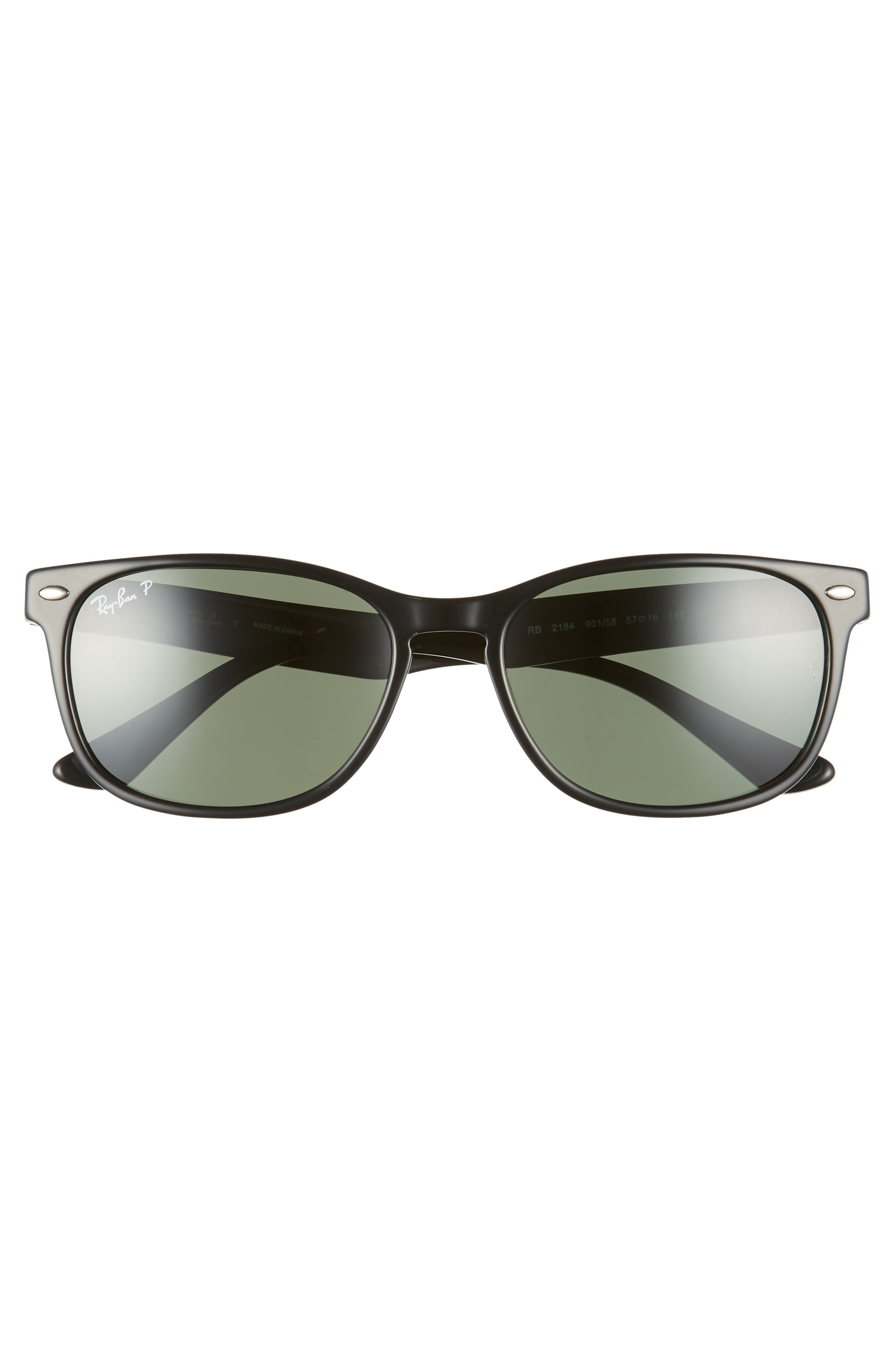 57mm Wayfarer Polarized Sunglasses,                             Alternate thumbnail 3, color,                             BLACK/ GREEN SOLID