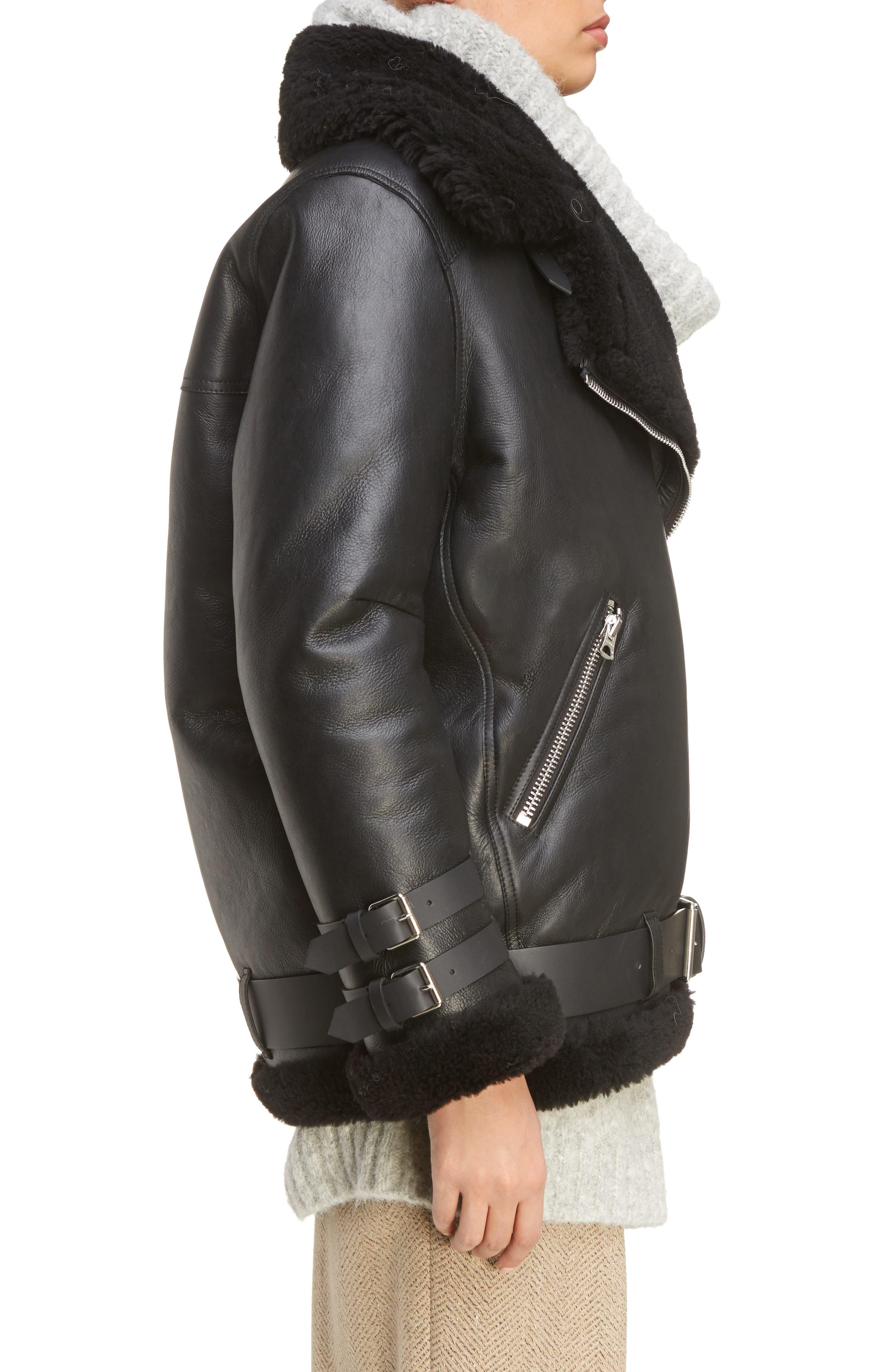 Velocite Genuine Shearling Oversize Moto Jacket,                             Alternate thumbnail 3, color,                             001