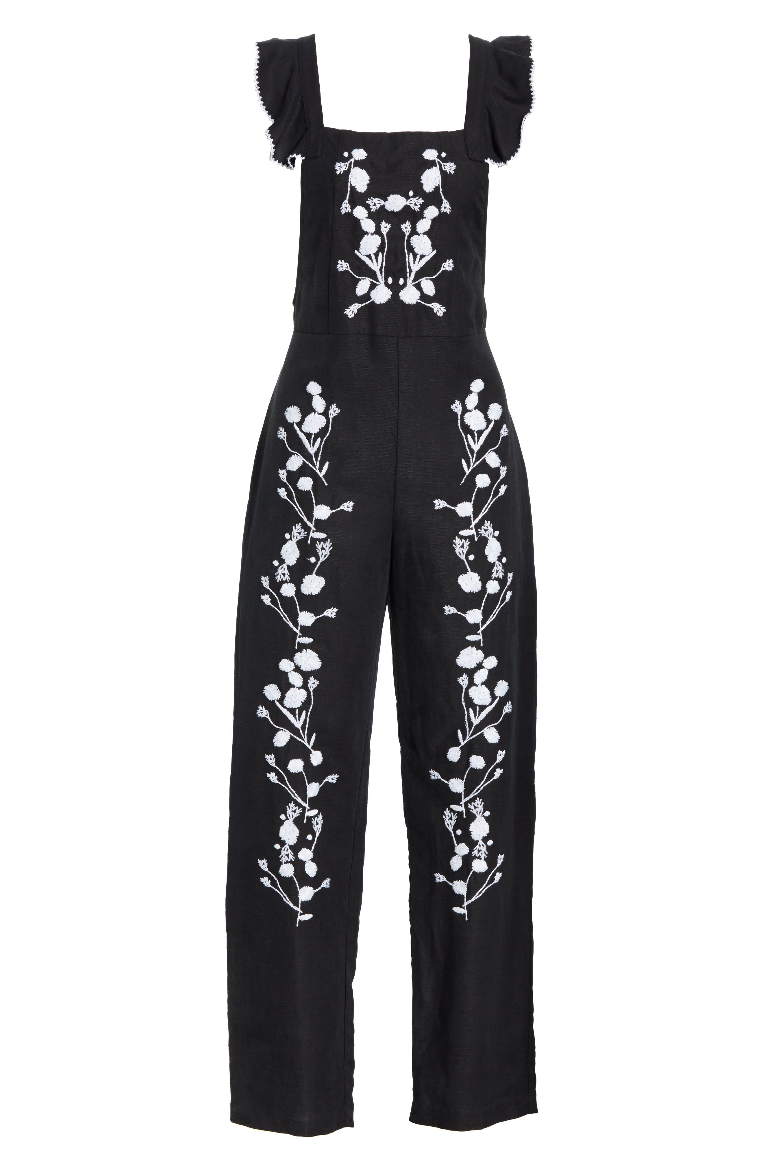 Flounced Embroidered Jumpsuit,                             Alternate thumbnail 8, color,                             BLACK