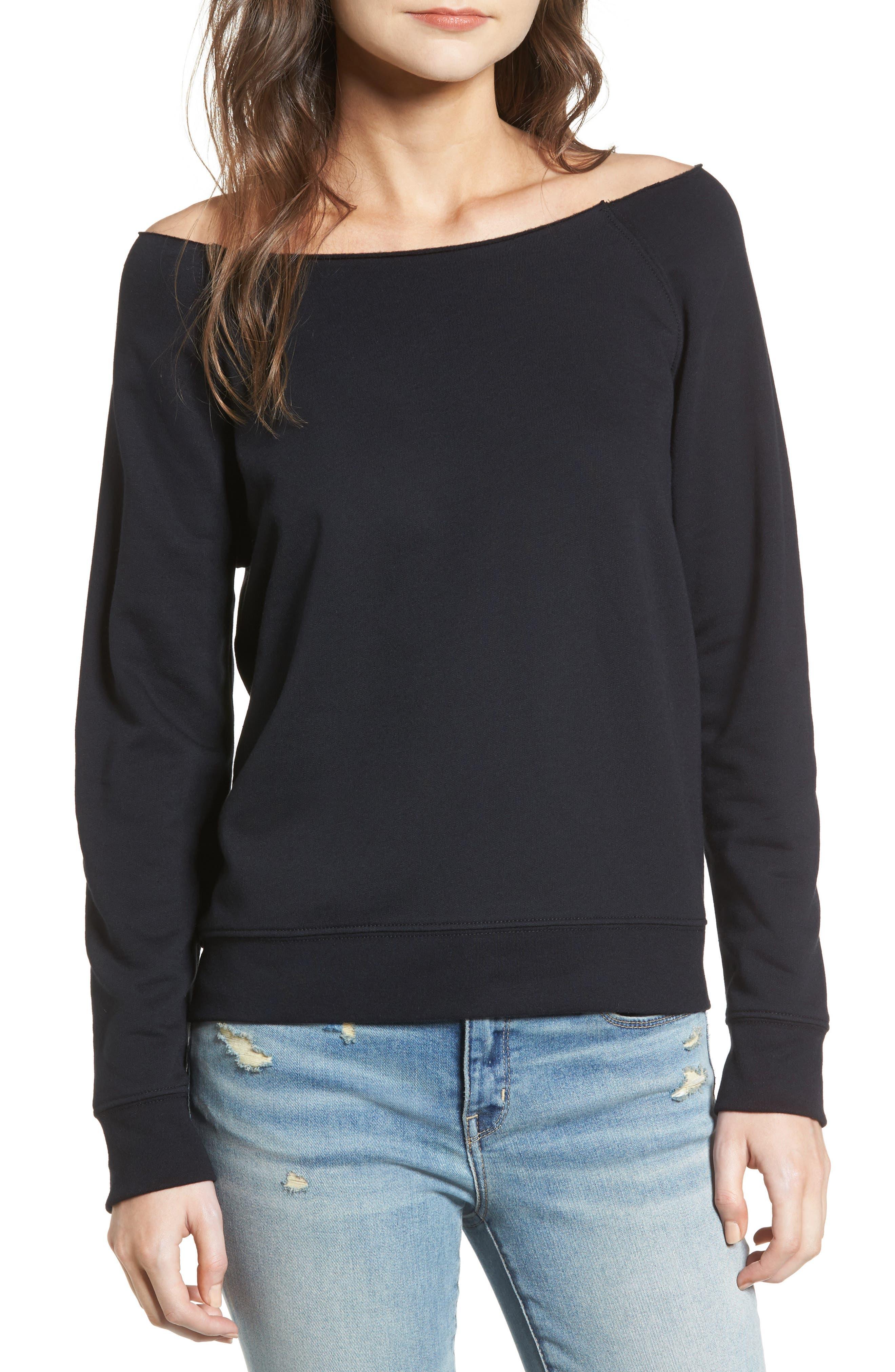 Raw Neck Sweatshirt,                             Main thumbnail 1, color,                             001