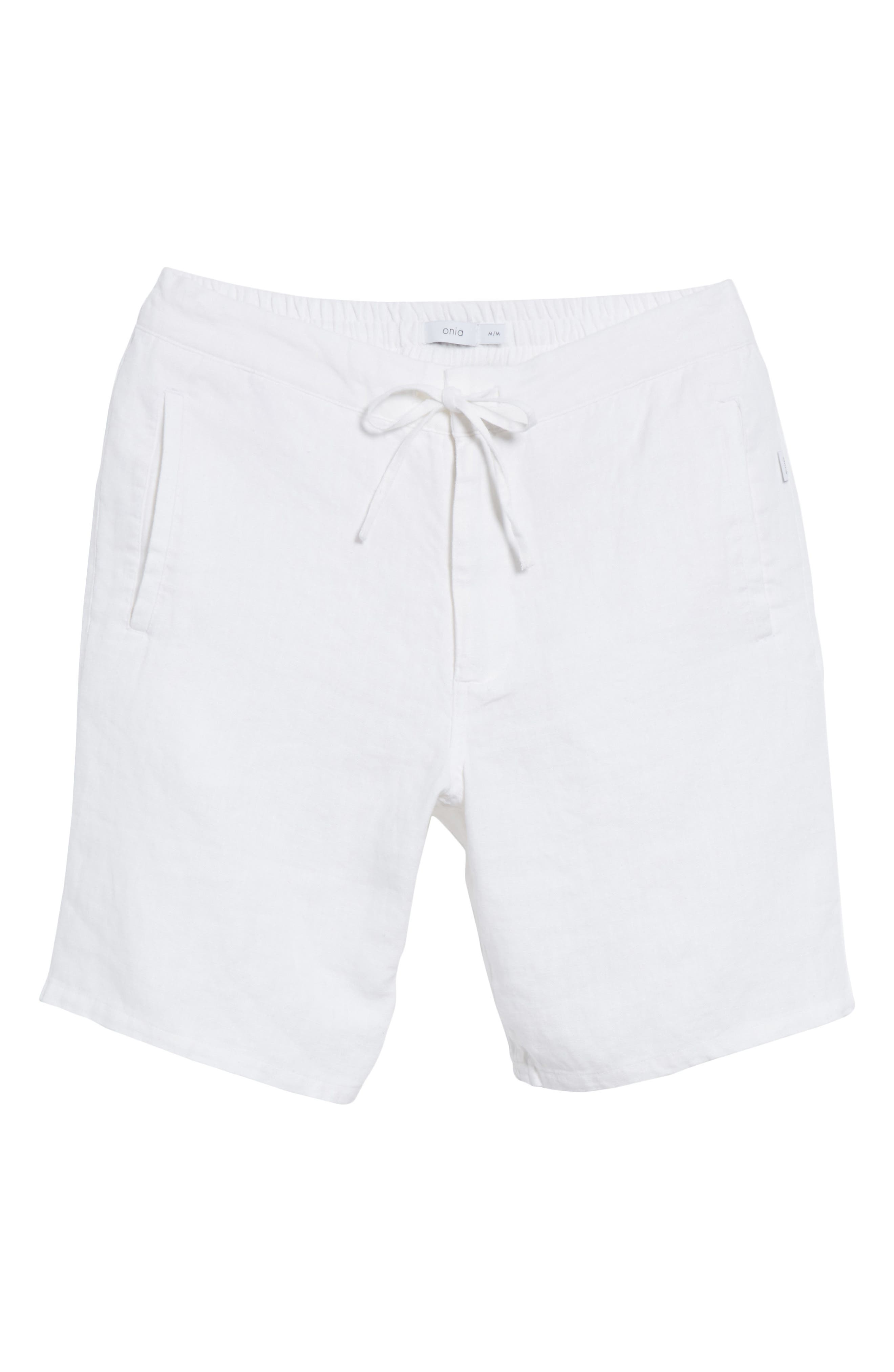 Max Linen Shorts,                             Alternate thumbnail 6, color,                             WHITE