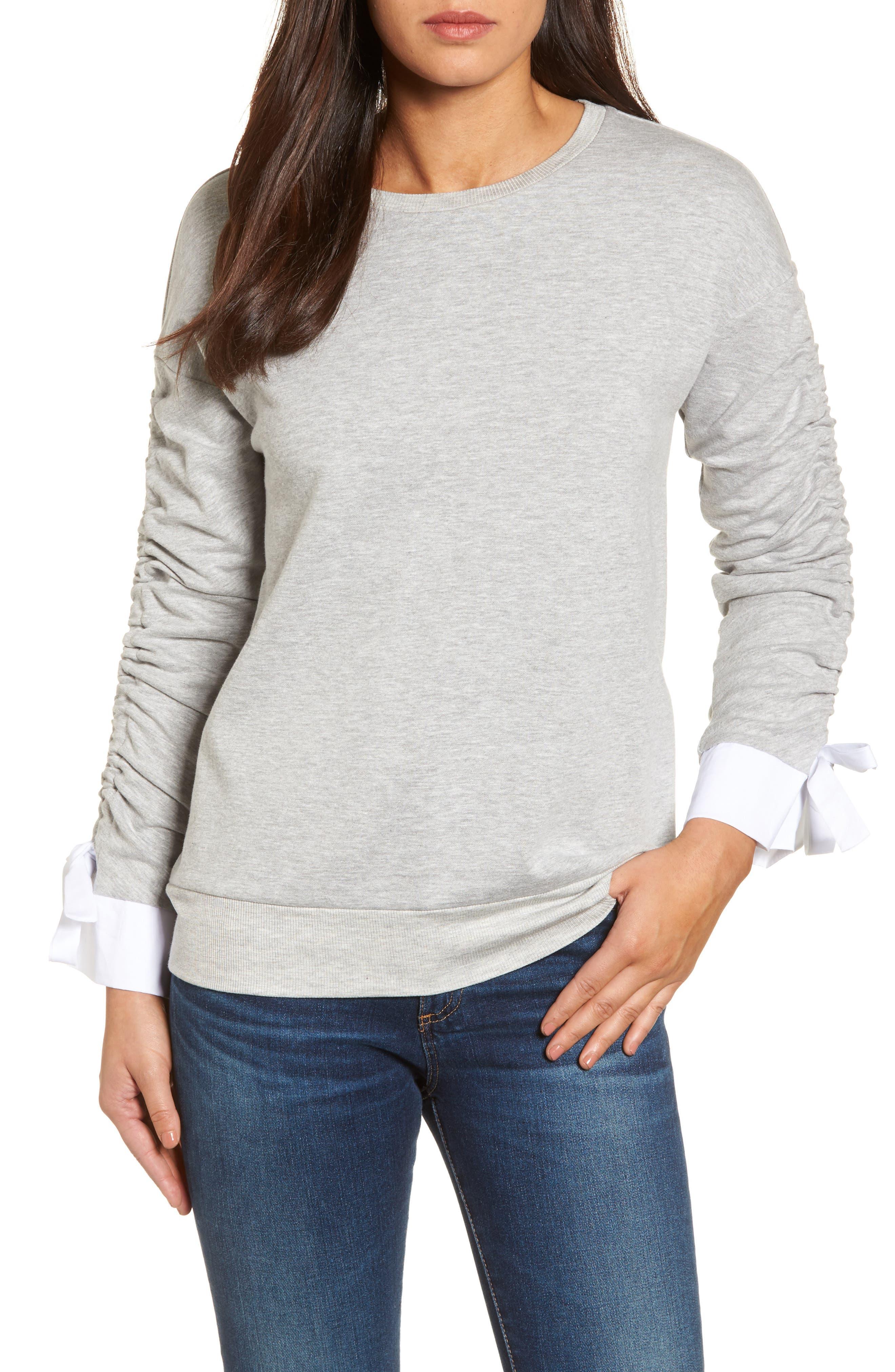 Ruched Sleeve Poplin Trim Sweatshirt,                             Main thumbnail 2, color,