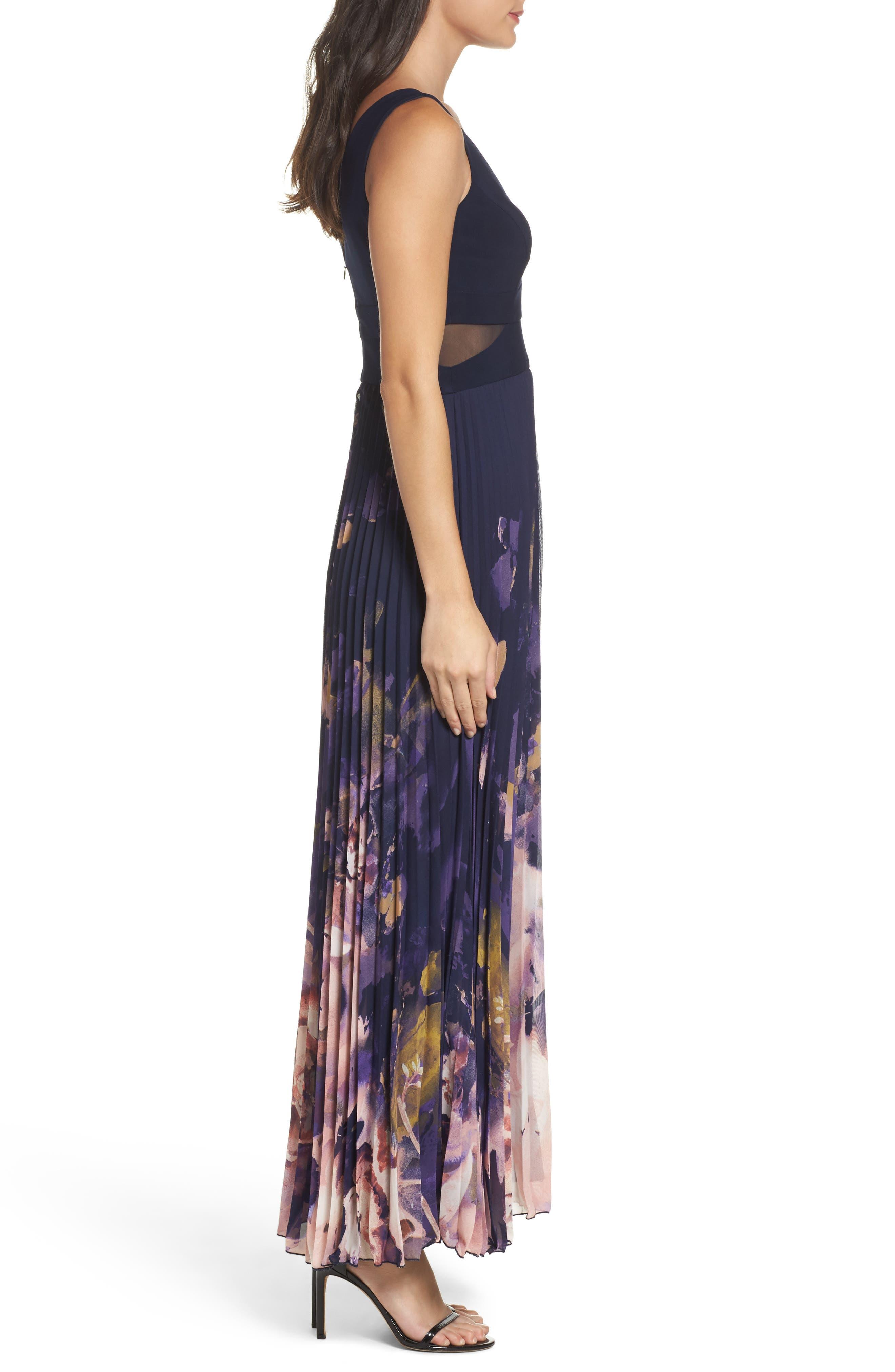 Floral Border A-Line Chiffon Gown,                             Alternate thumbnail 3, color,                             488