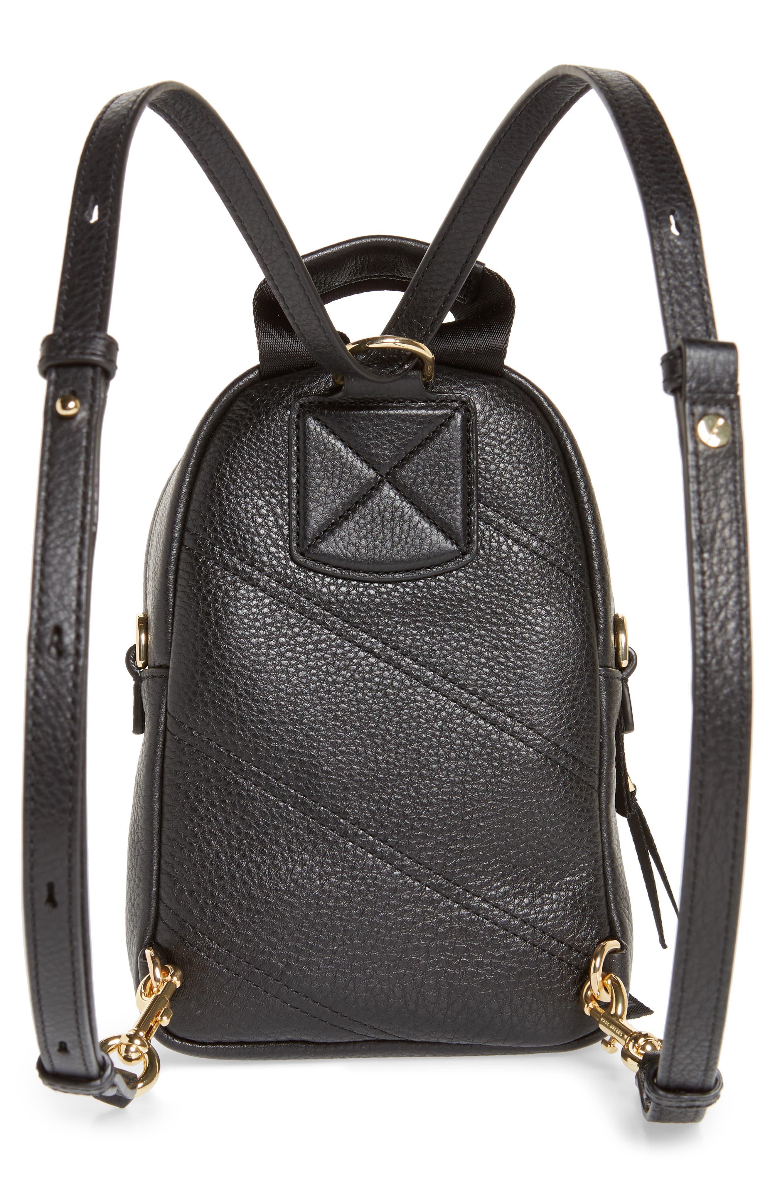 Mini Trek Leather Backpack,                             Alternate thumbnail 4, color,                             BLACK
