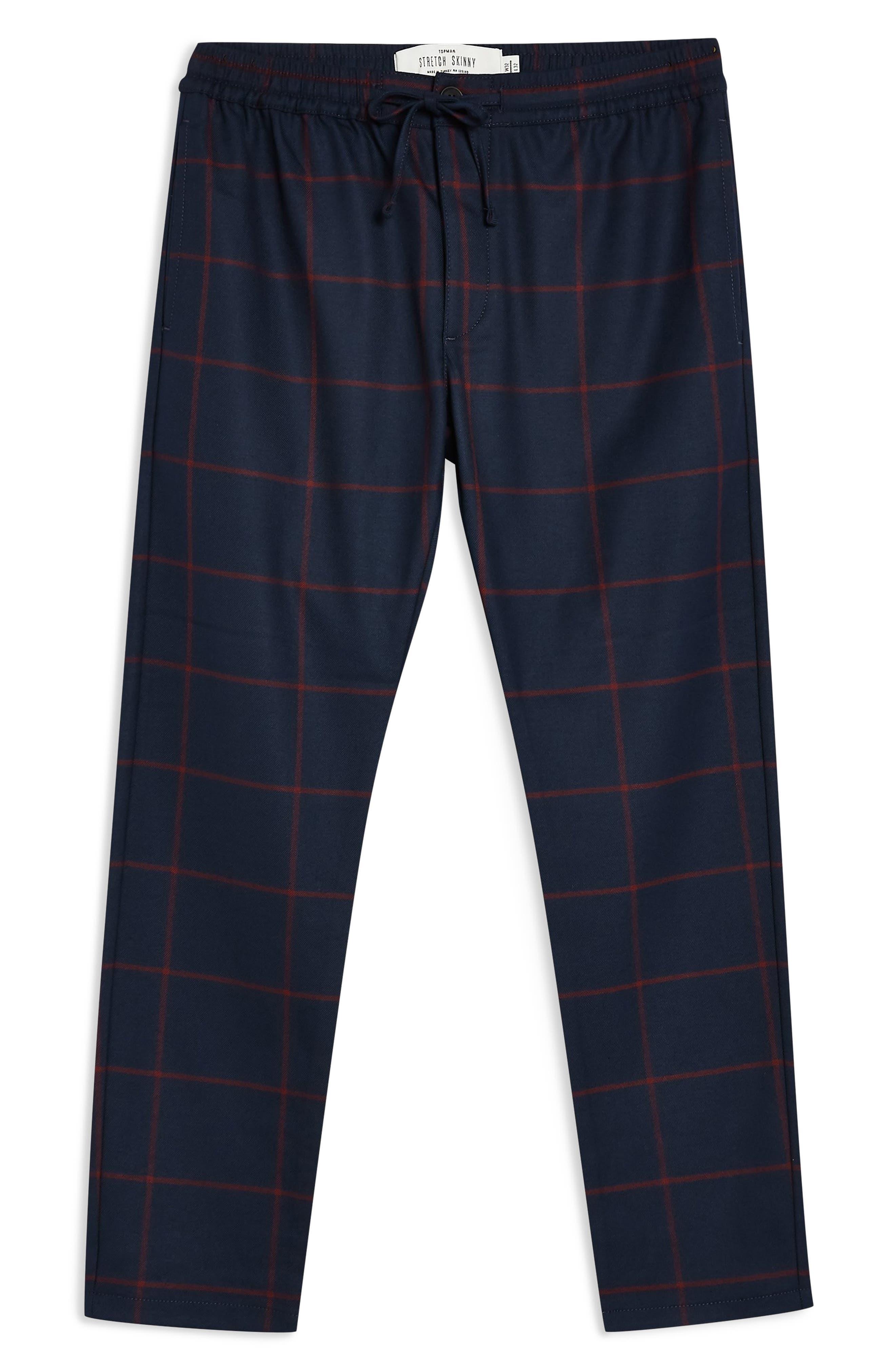 Windowpane Check Jogger Pants,                             Alternate thumbnail 3, color,                             NAVY MULTI