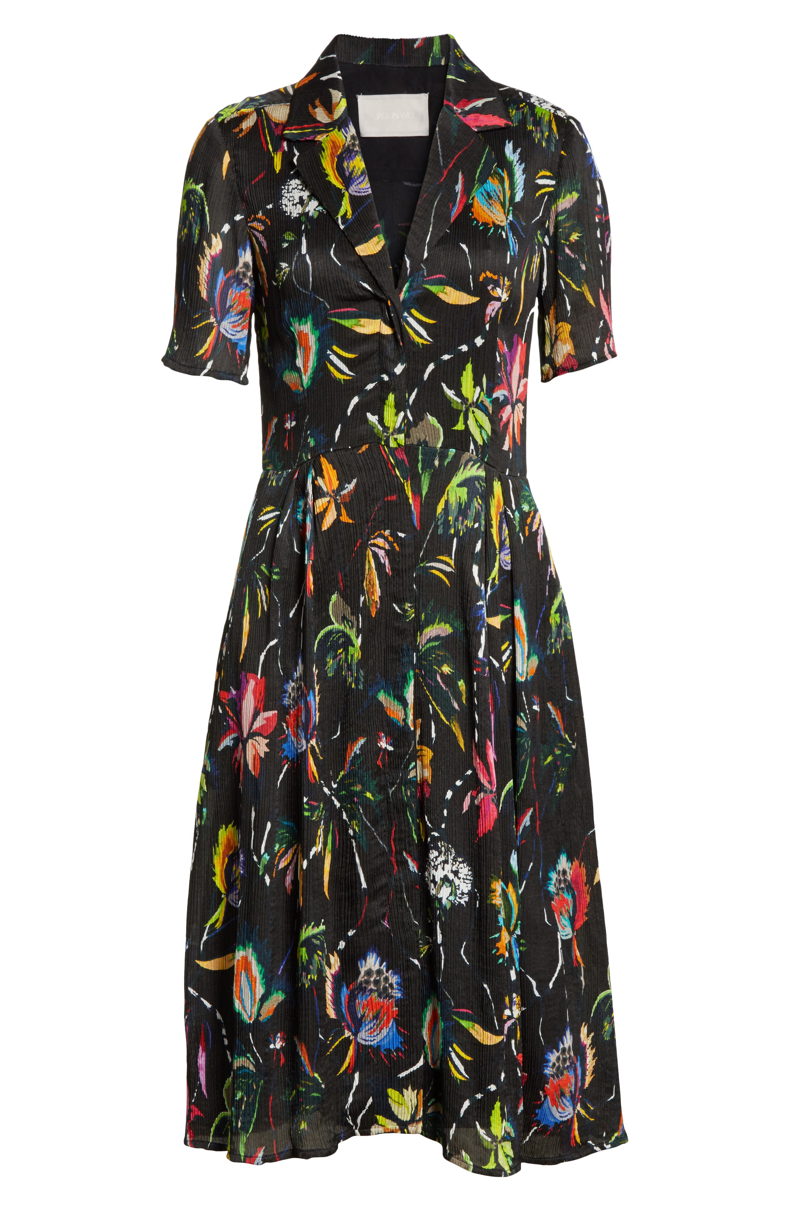Floral Print Plissé Silk Crepon Dress,                             Alternate thumbnail 6, color,                             002