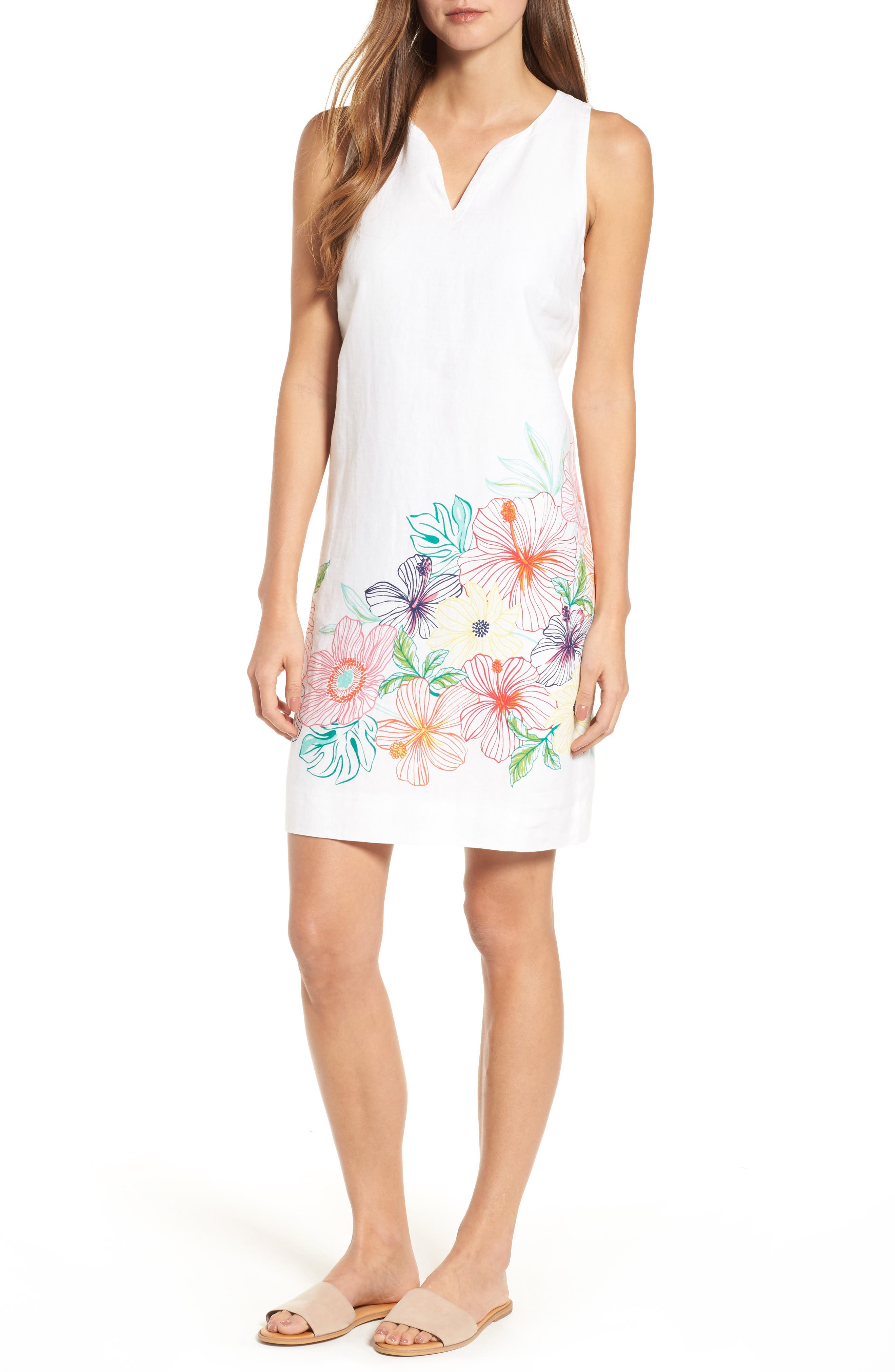 Hibiscus Sketch Shift Dress,                             Main thumbnail 1, color,                             WHITE