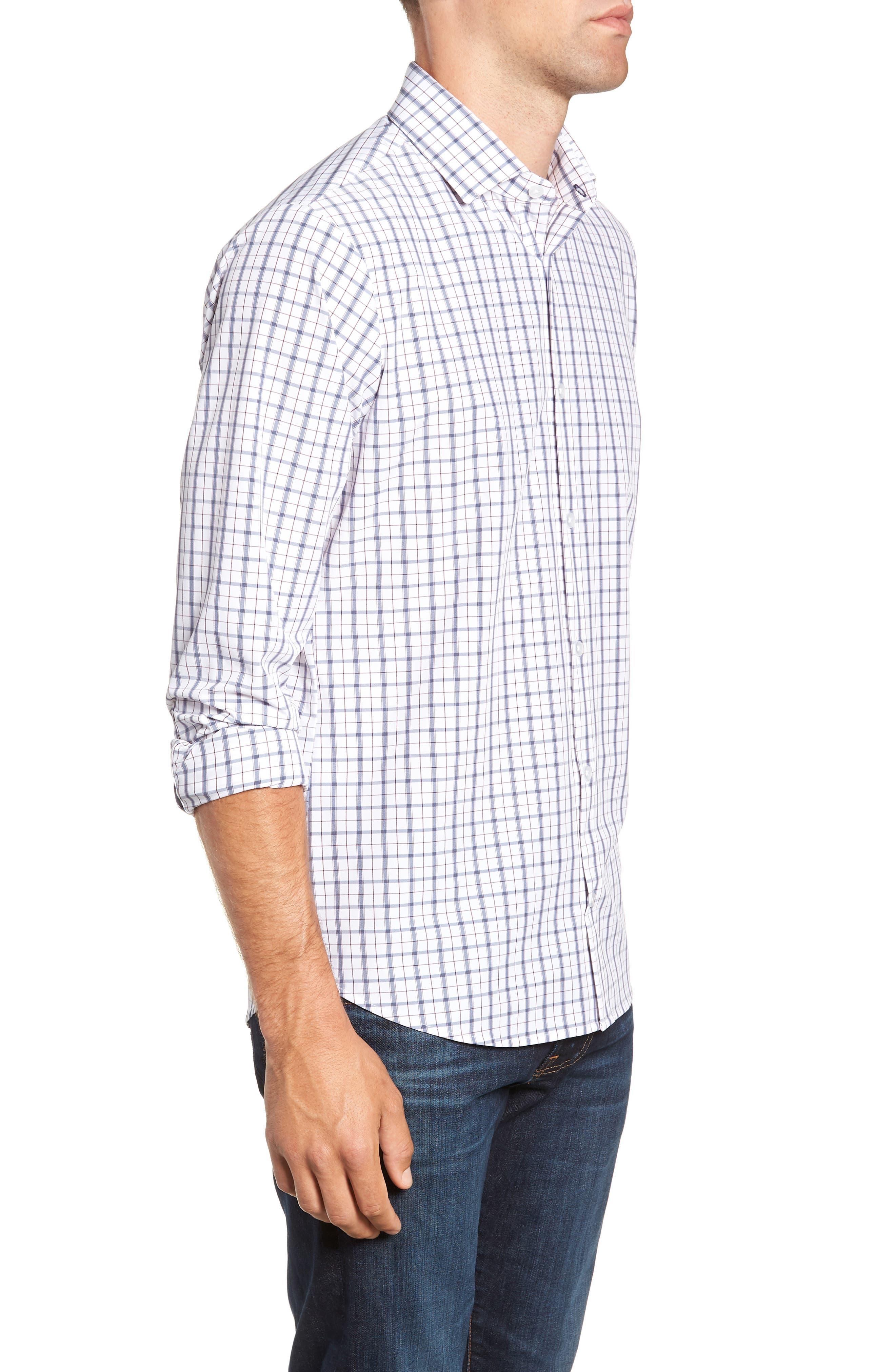 Moore Regular Fit Plaid Performance Sport Shirt,                             Alternate thumbnail 4, color,                             BLUE