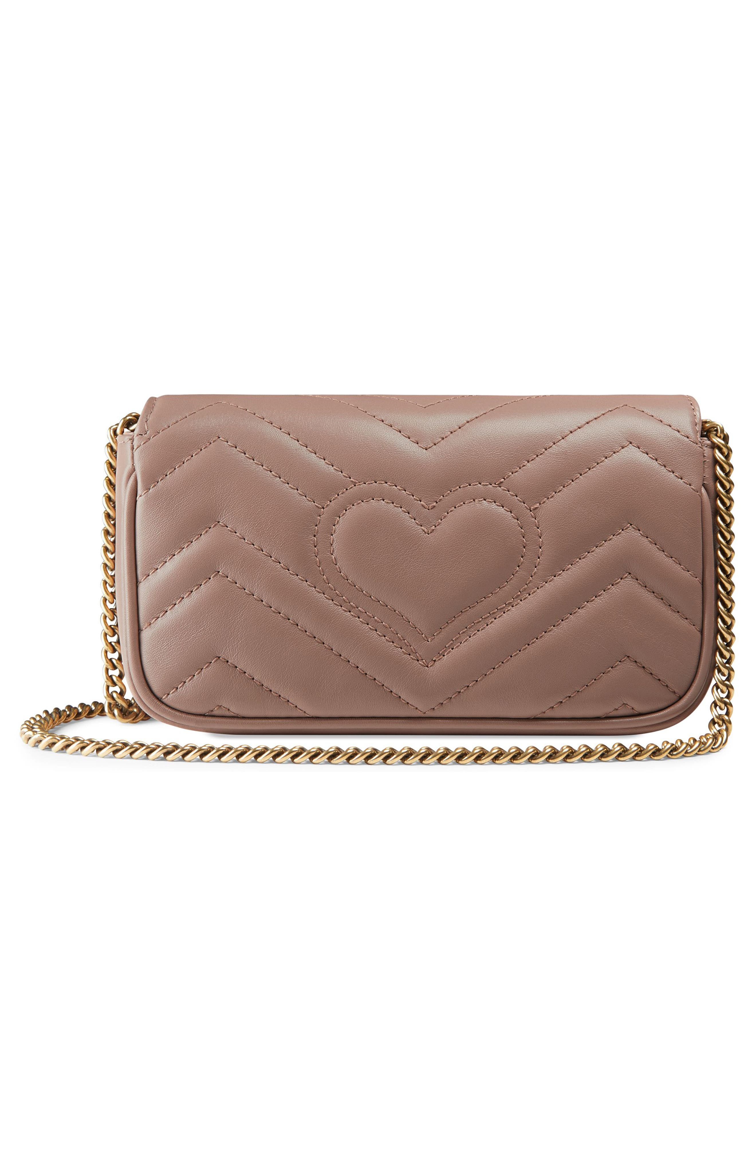 Supermini GG Marmont 2.0 Matelassé Leather Shoulder Bag,                             Alternate thumbnail 3, color,                             PORCELAIN ROSE