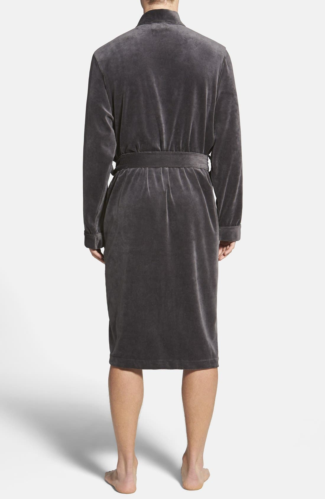 BOSS,                             HUGO BOSS Velour Robe,                             Alternate thumbnail 3, color,                             030
