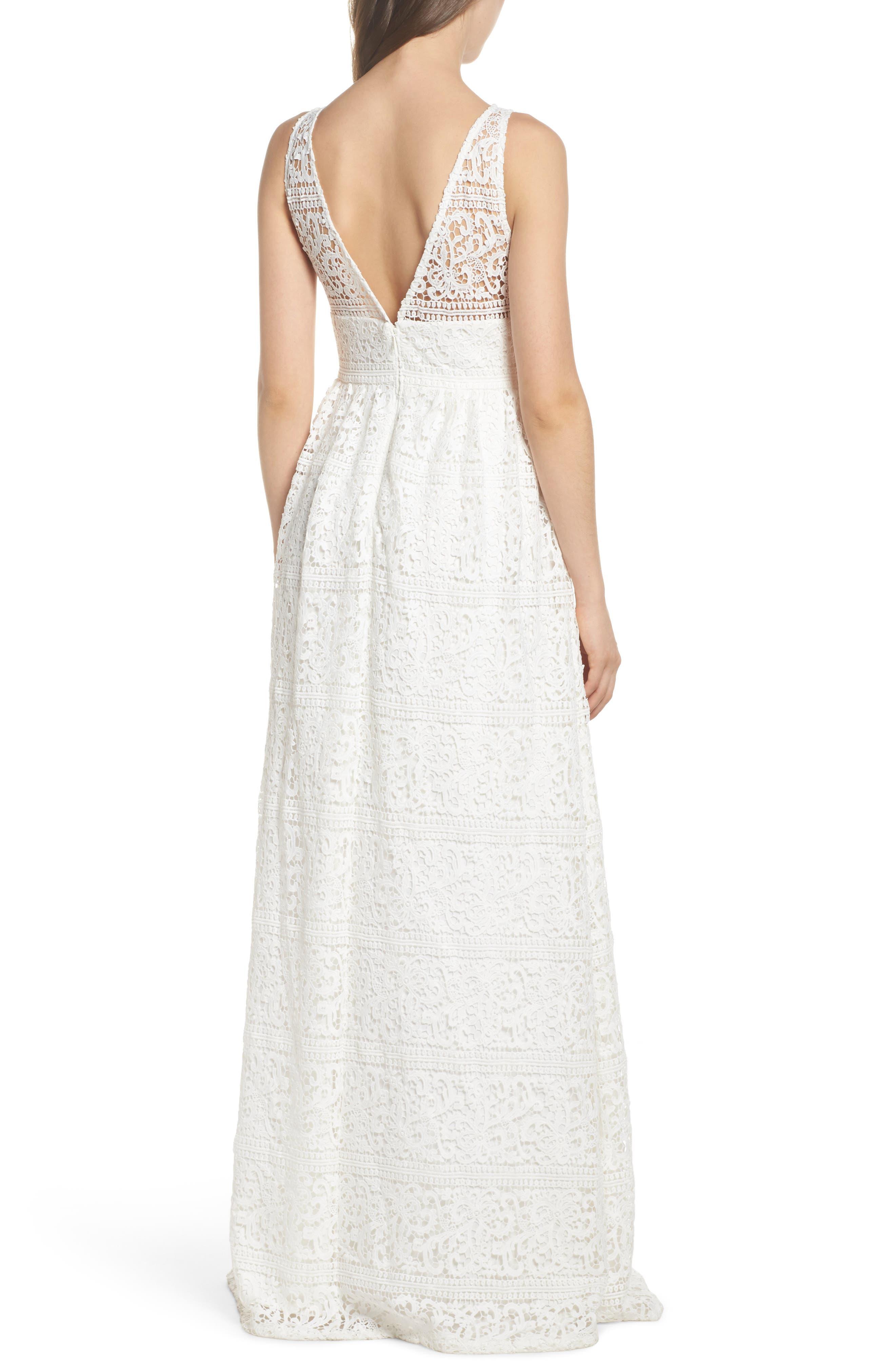 Stripe Lace A-Line Gown,                             Alternate thumbnail 2, color,