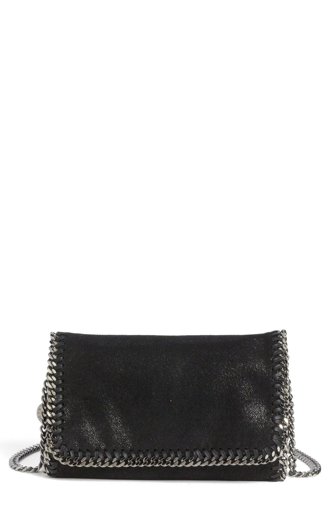 'Falabella - Shaggy Deer' Faux Leather Crossbody Bag,                         Main,                         color, BLACK SLVR HRDWR
