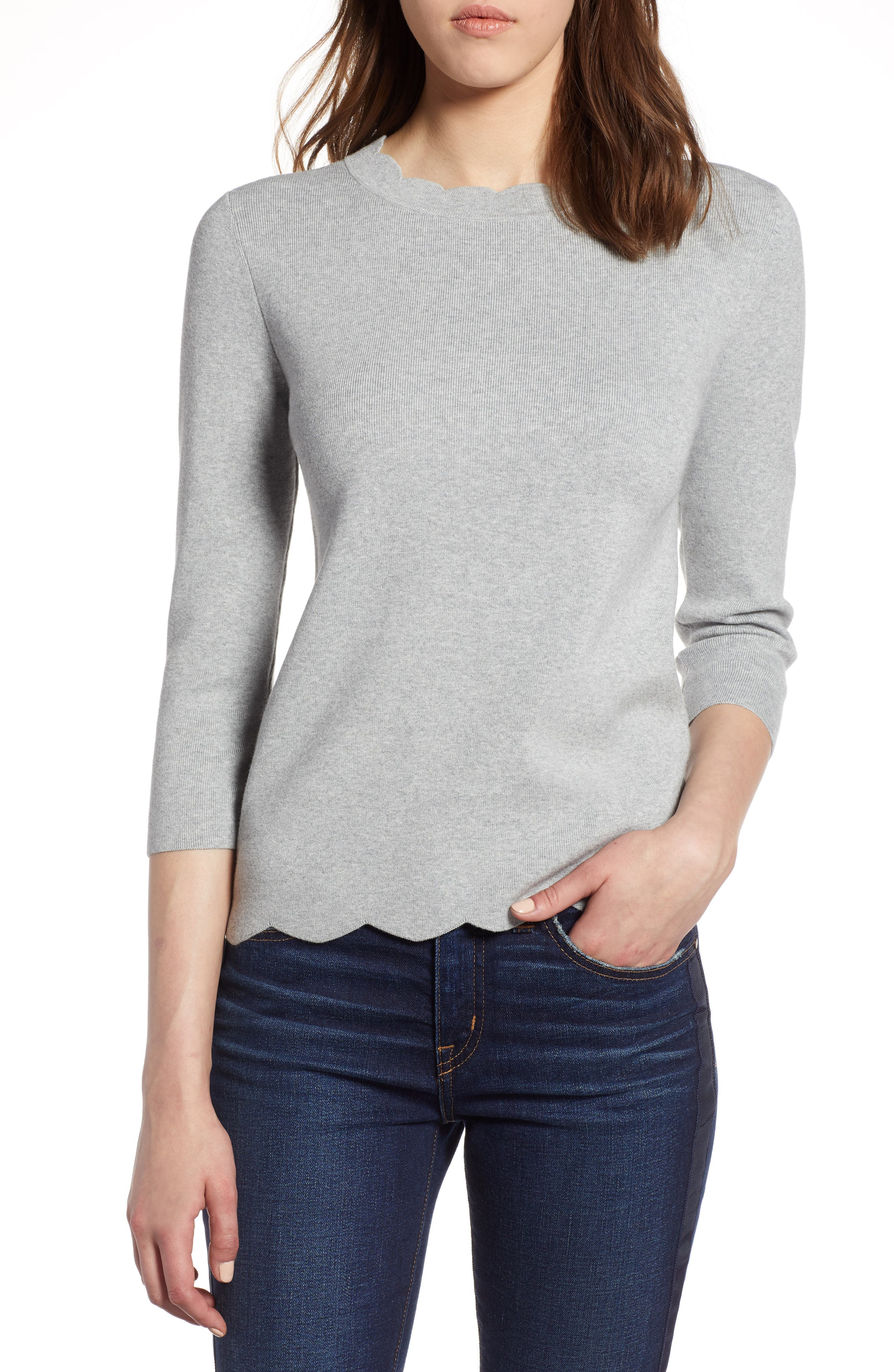 Halogen Scallop Edge Sweater,                             Main thumbnail 1, color,                             030