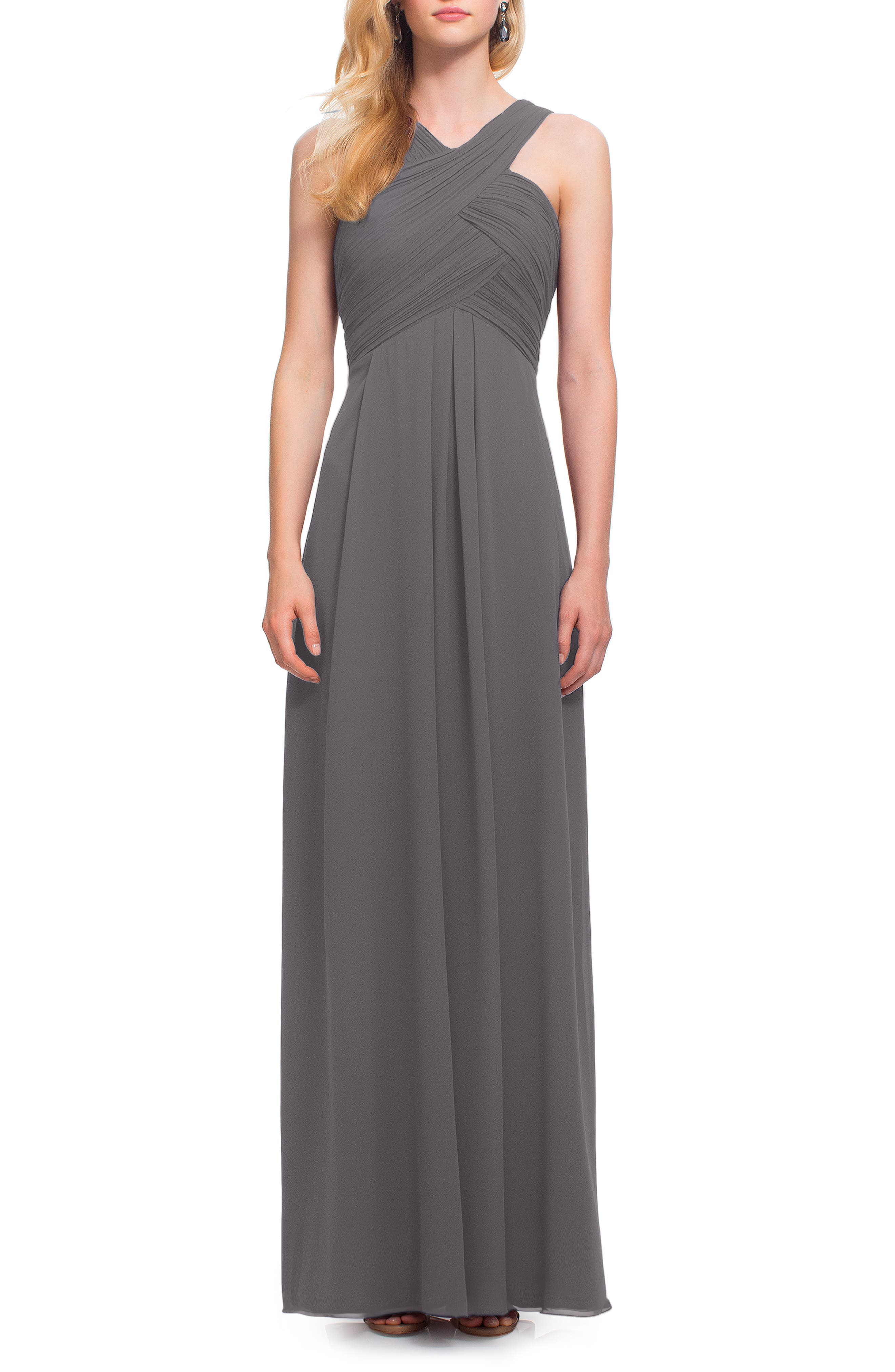 Crisscross Bodice Chiffon Gown,                             Main thumbnail 1, color,                             PEWTER