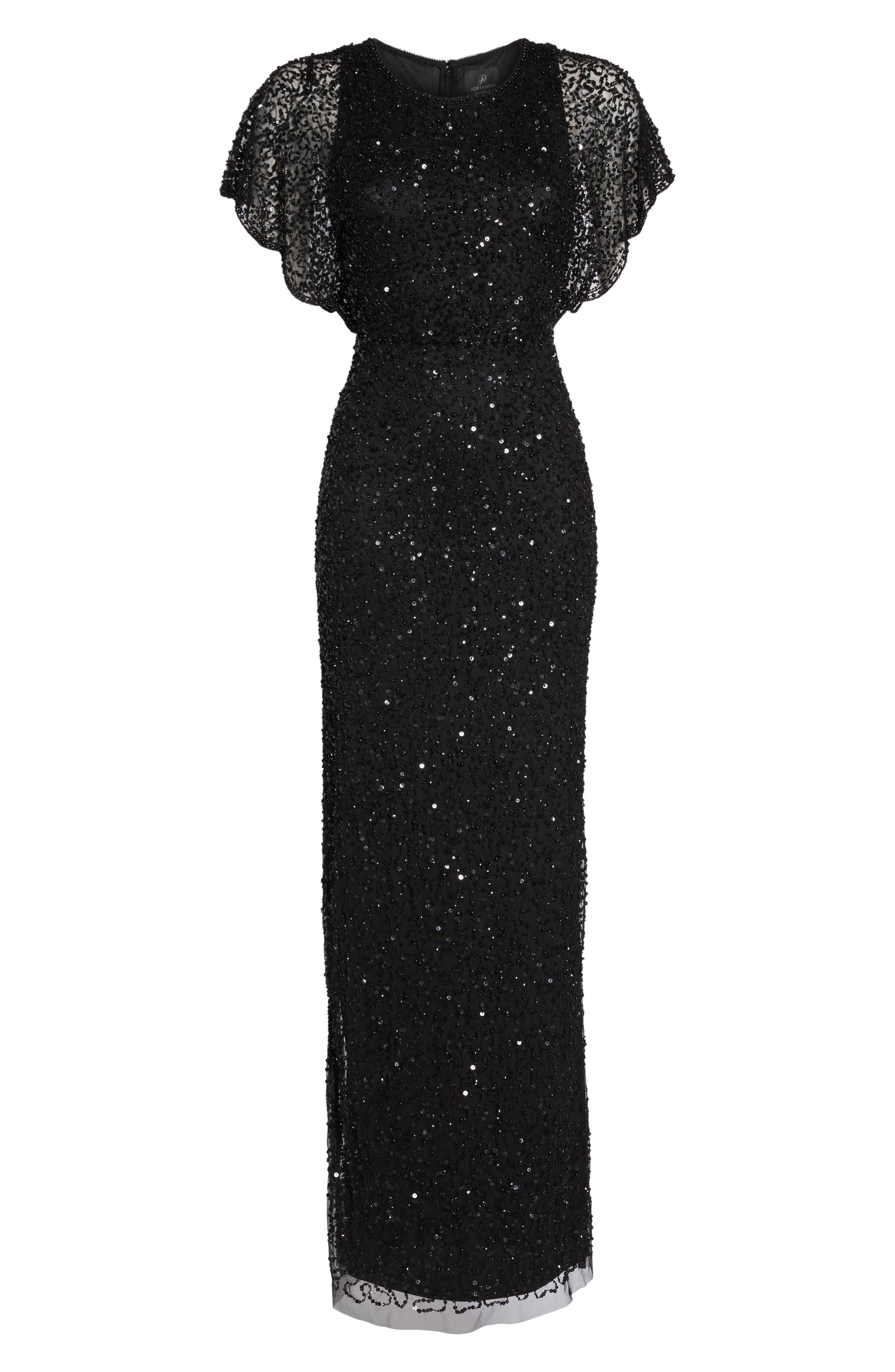 Beaded Flutter Sleeve Gown,                             Alternate thumbnail 6, color,                             002
