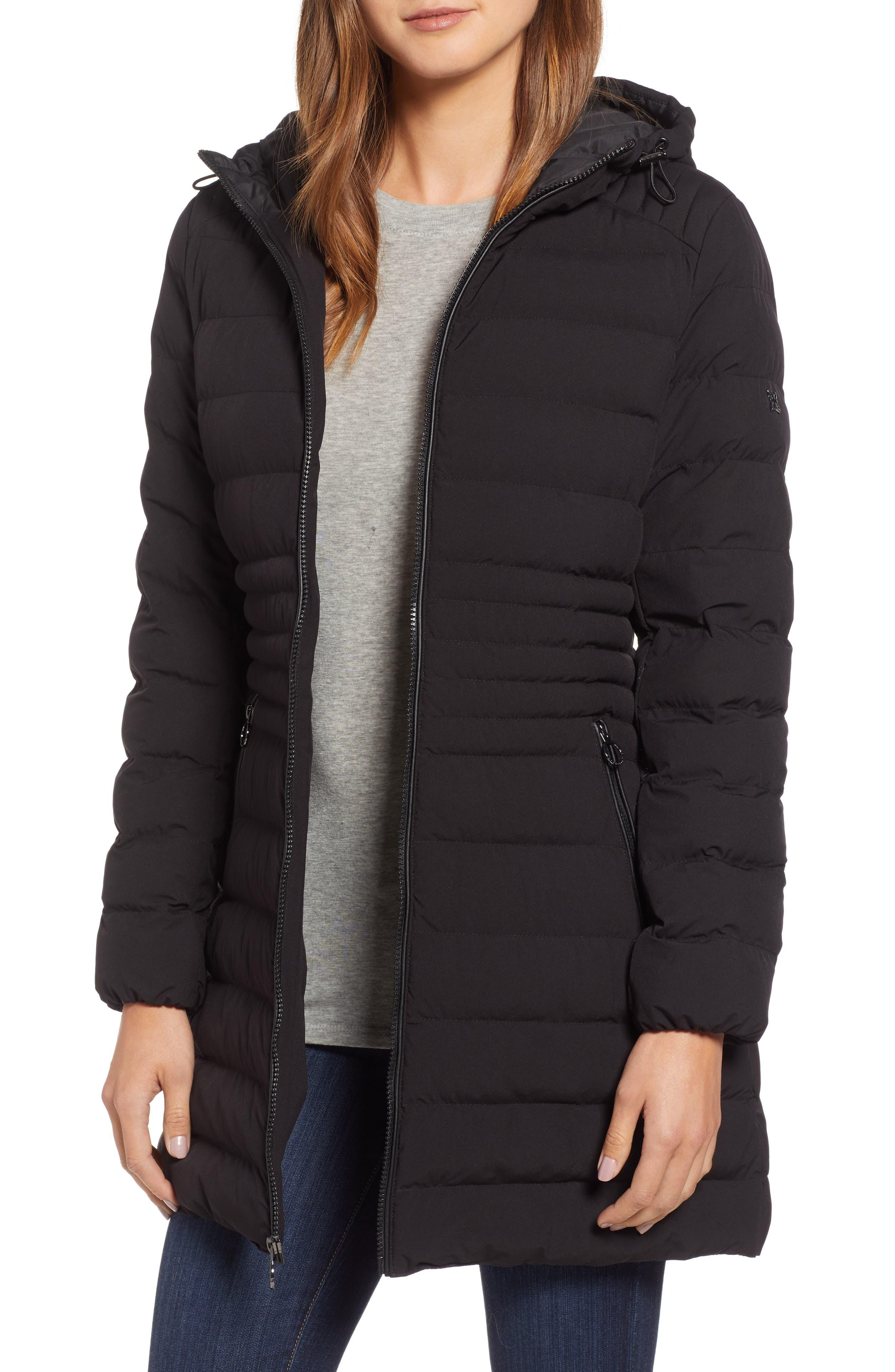 Hooded Down Puffer Coat,                             Main thumbnail 1, color,                             BLACK