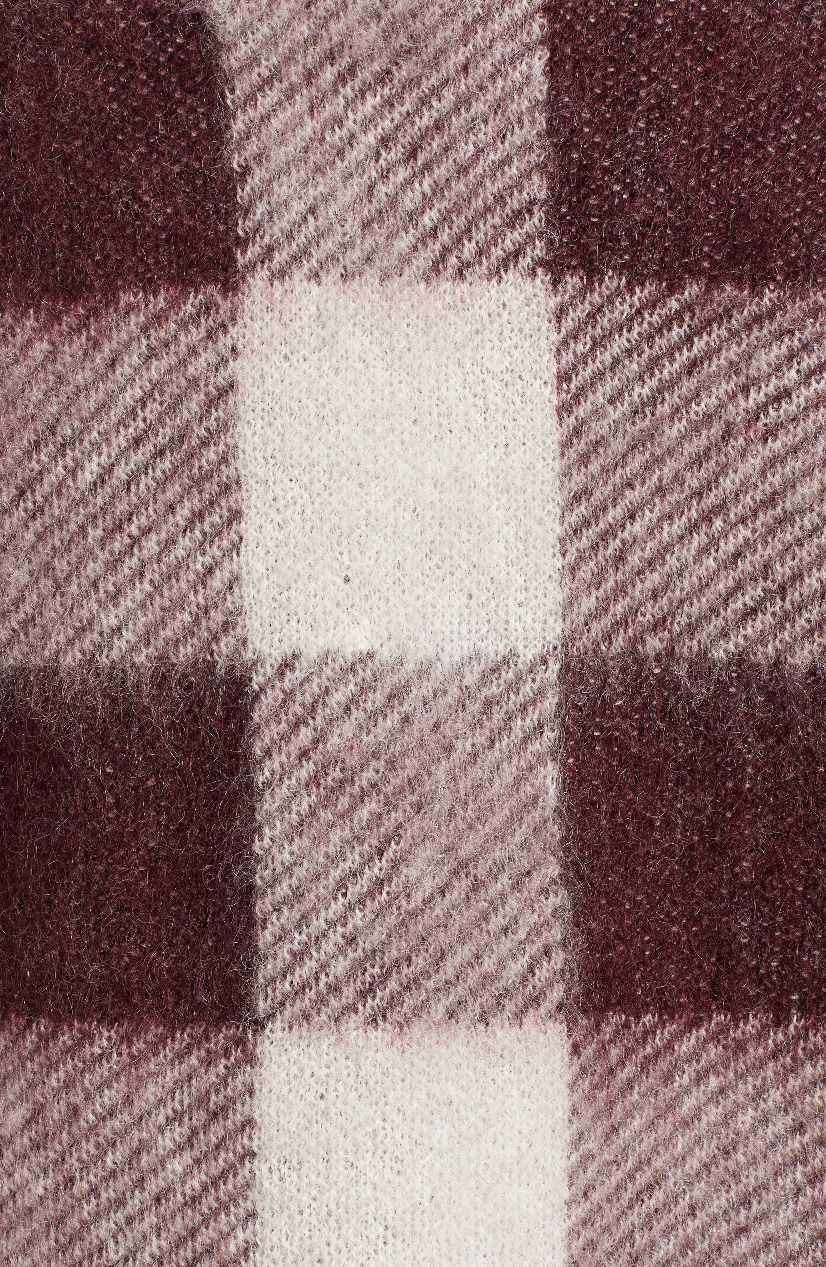 Low Mohair Blend V-Neck Sweater,                             Alternate thumbnail 5, color,                             PLUM CHECK