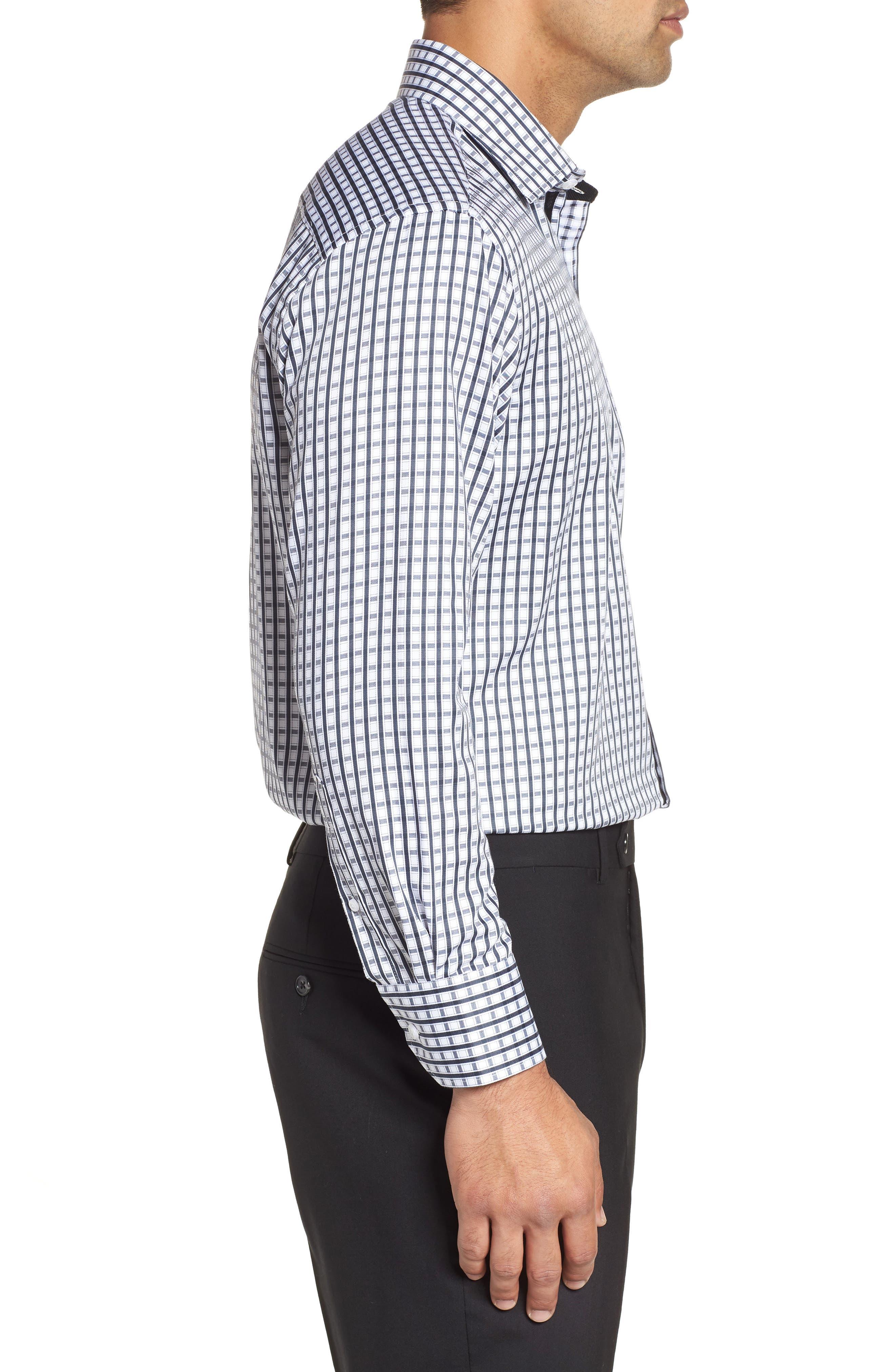Regular Fit Check Dress Shirt,                             Alternate thumbnail 4, color,                             BLACK