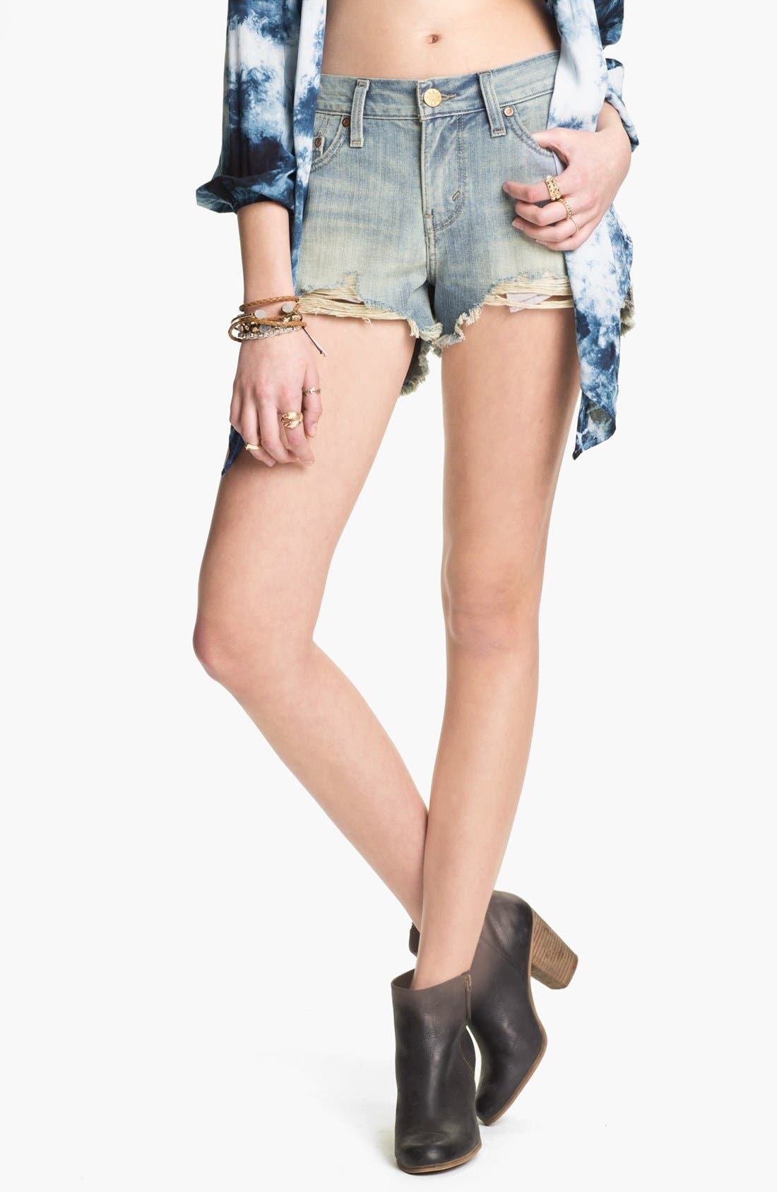LEVI'S<SUP>®</SUP> Destroyed High Waisted High/Low Denim Cutoffs, Main, color, 400