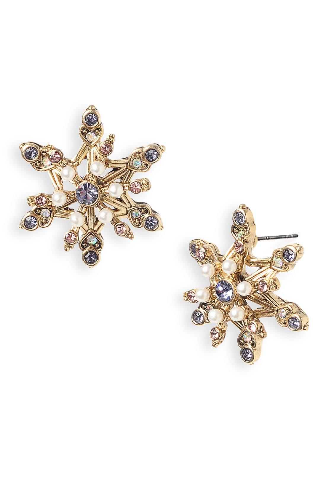 'Tzar' Snowflake Stud Earrings, Main, color, 710