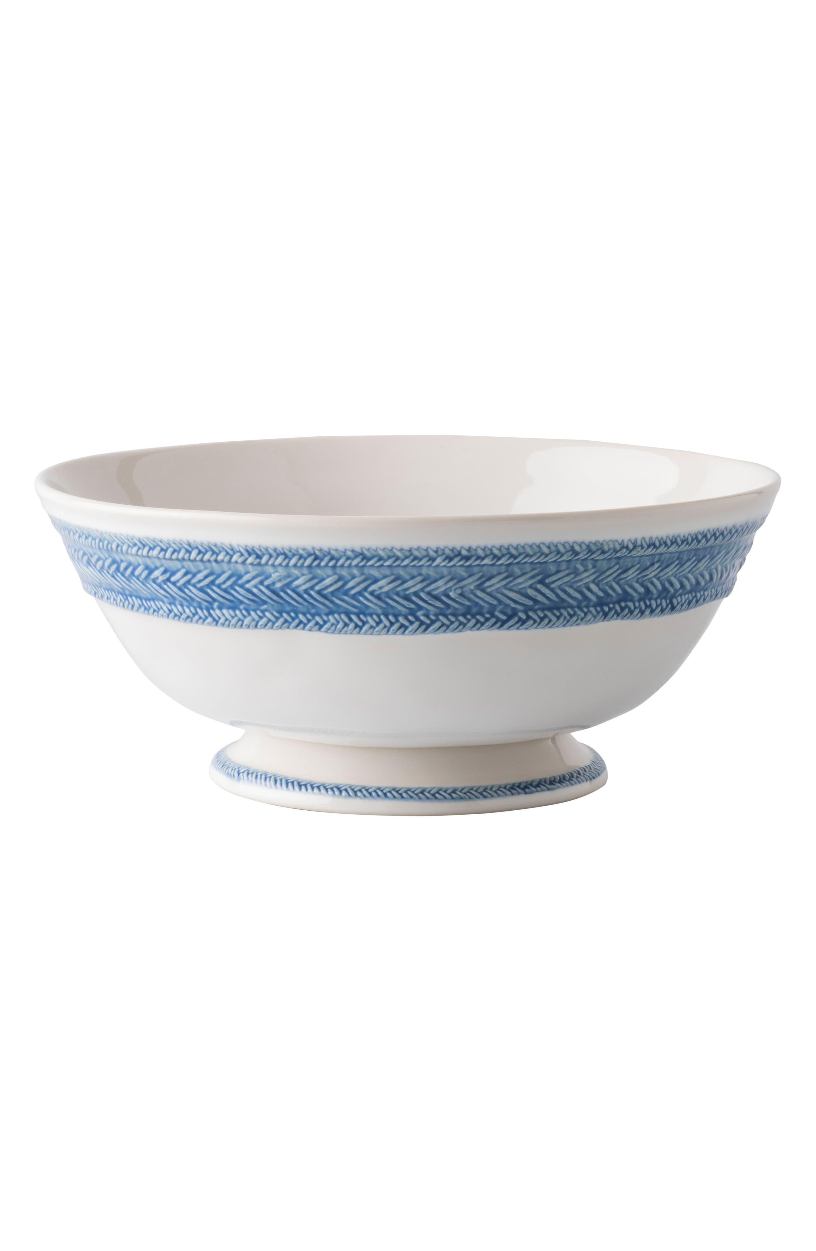 Le Panier Footed Fruit Bowl,                             Main thumbnail 1, color,                             WHITEWASH/ DELFT BLUE