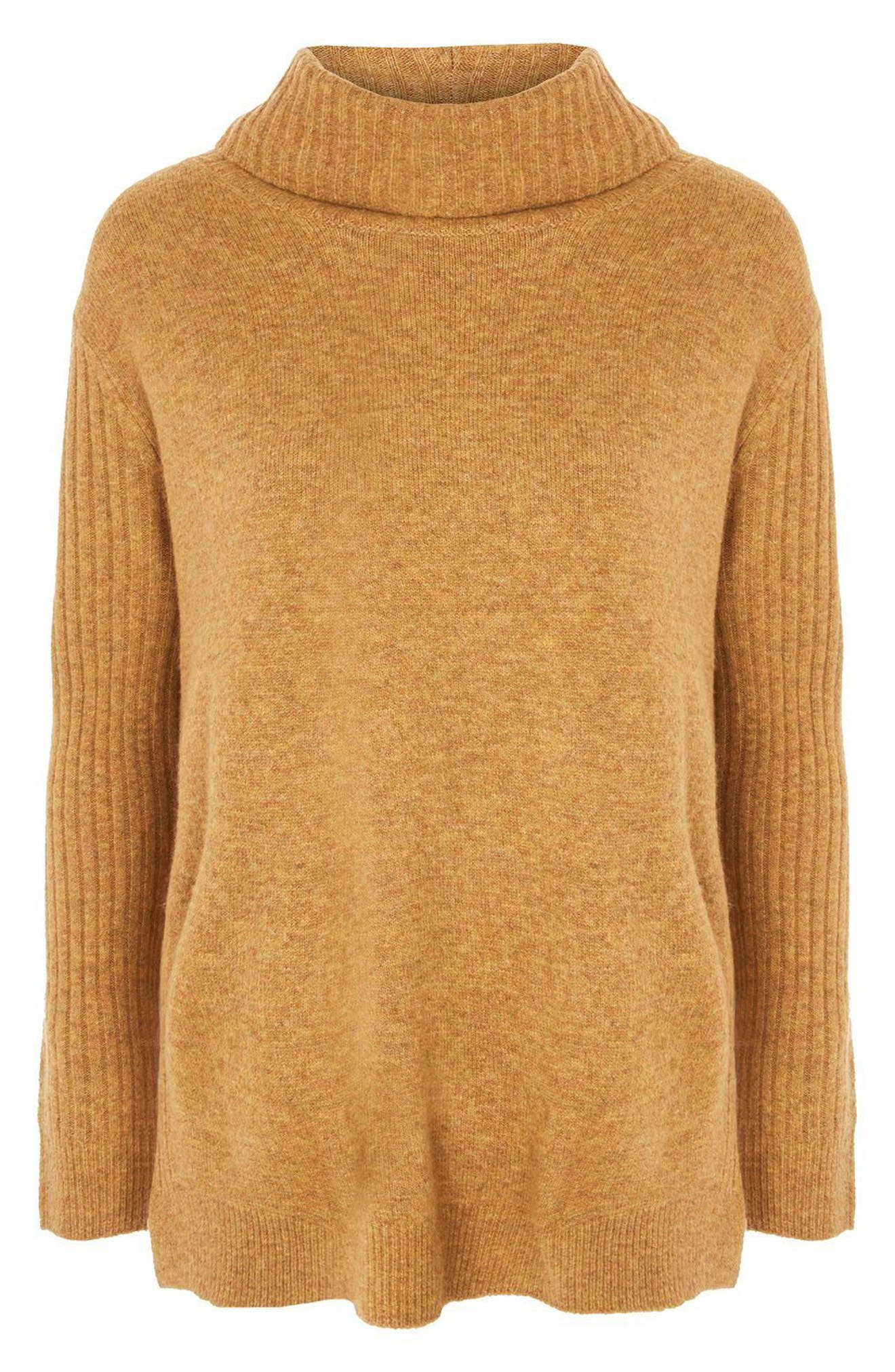 Oversize Turtleneck Sweater,                             Alternate thumbnail 3, color,