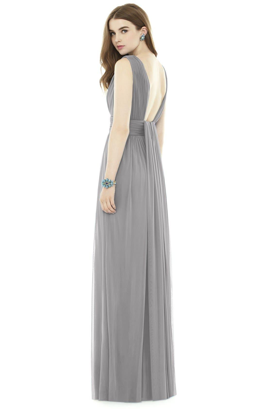 V-Neck Pleat Chiffon Knit A-Line Gown,                             Alternate thumbnail 2, color,                             043