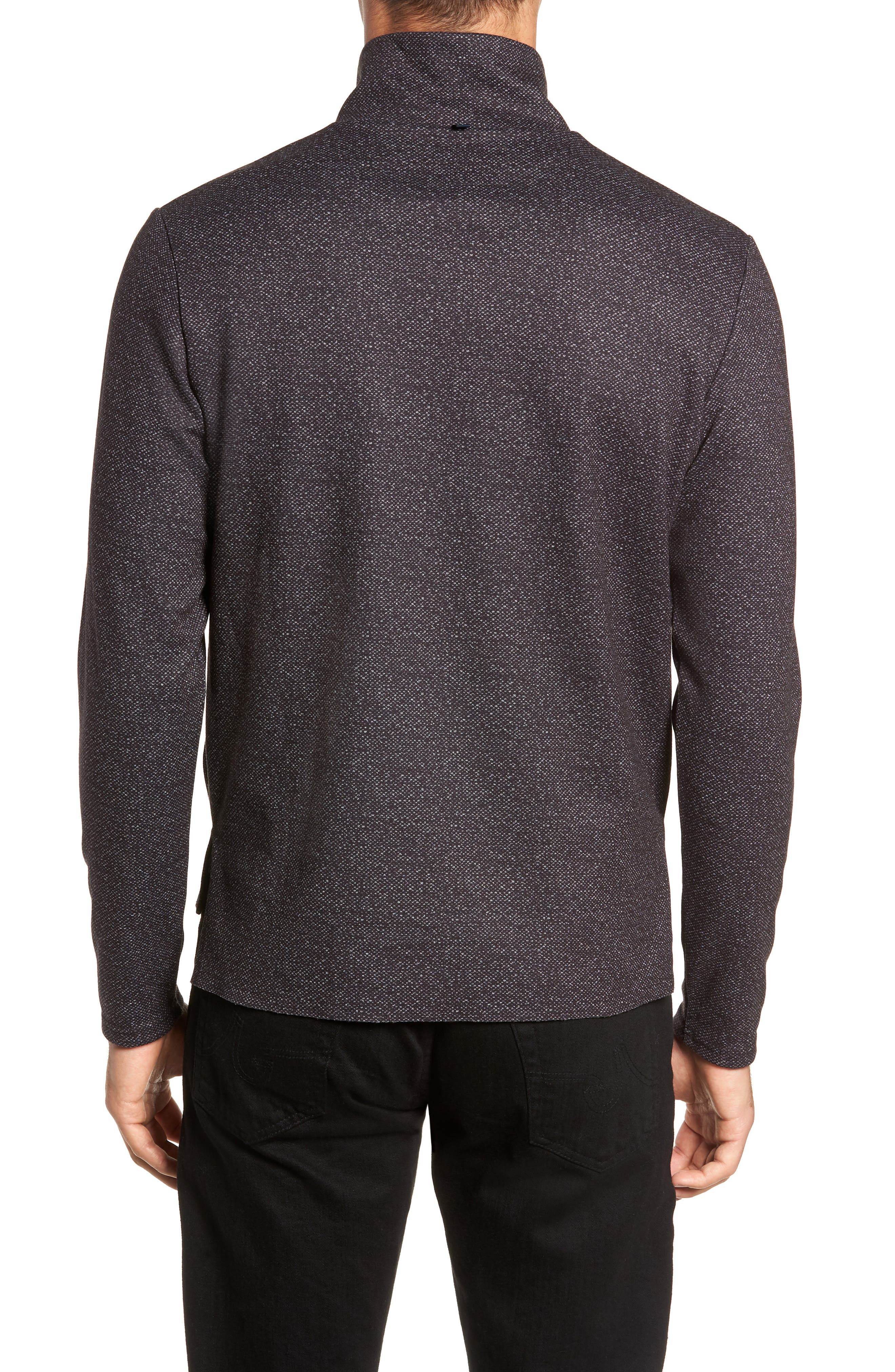 Oscar Quarter Zip Slim Fit Sweater,                             Alternate thumbnail 2, color,                             CHARCOAL