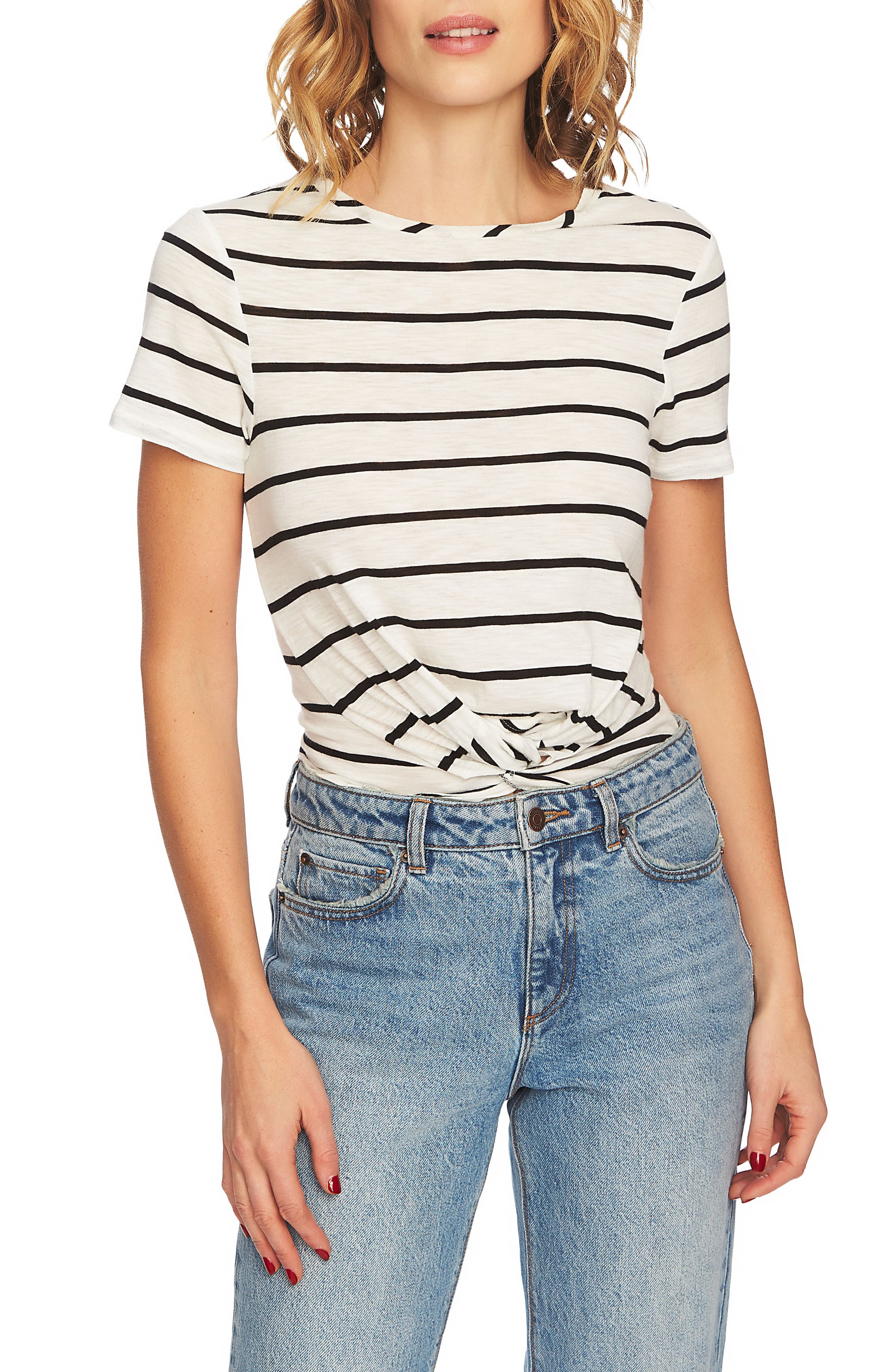 Stripe Twist Front Short Sleeve Tee,                         Main,                         color, 006