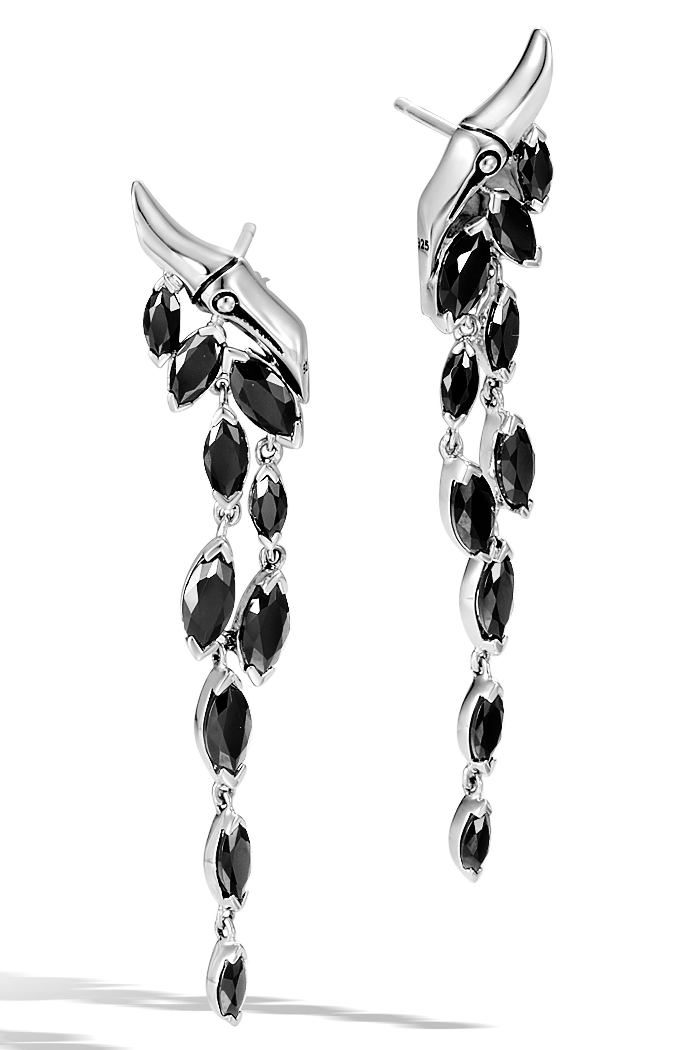 JOHN HARDY,                             Bamboo Spinel Drop Earrings,                             Main thumbnail 1, color,                             SILVER/ BLACK SPINEL