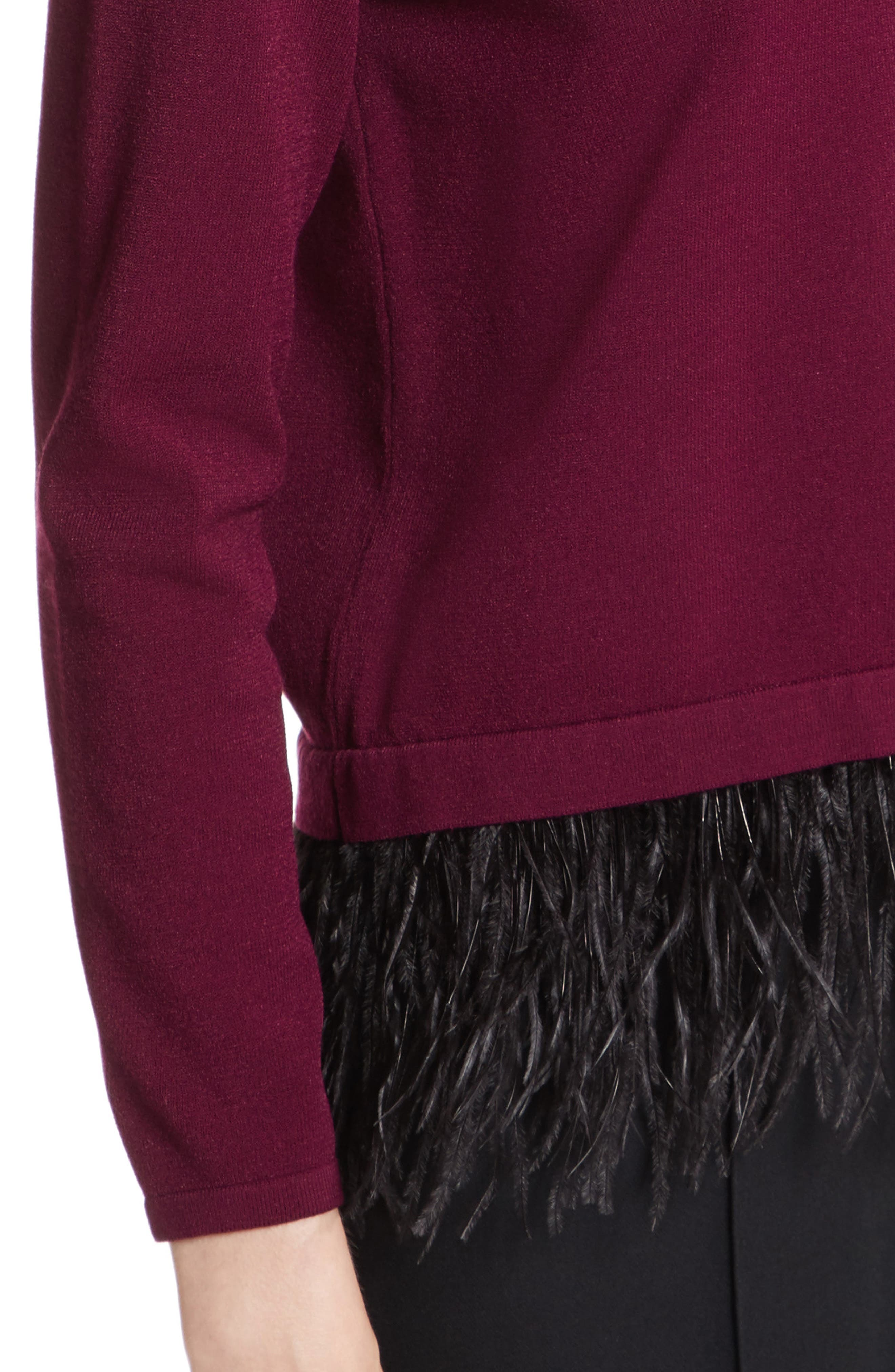 Feather Trim Sweater,                             Alternate thumbnail 4, color,                             931