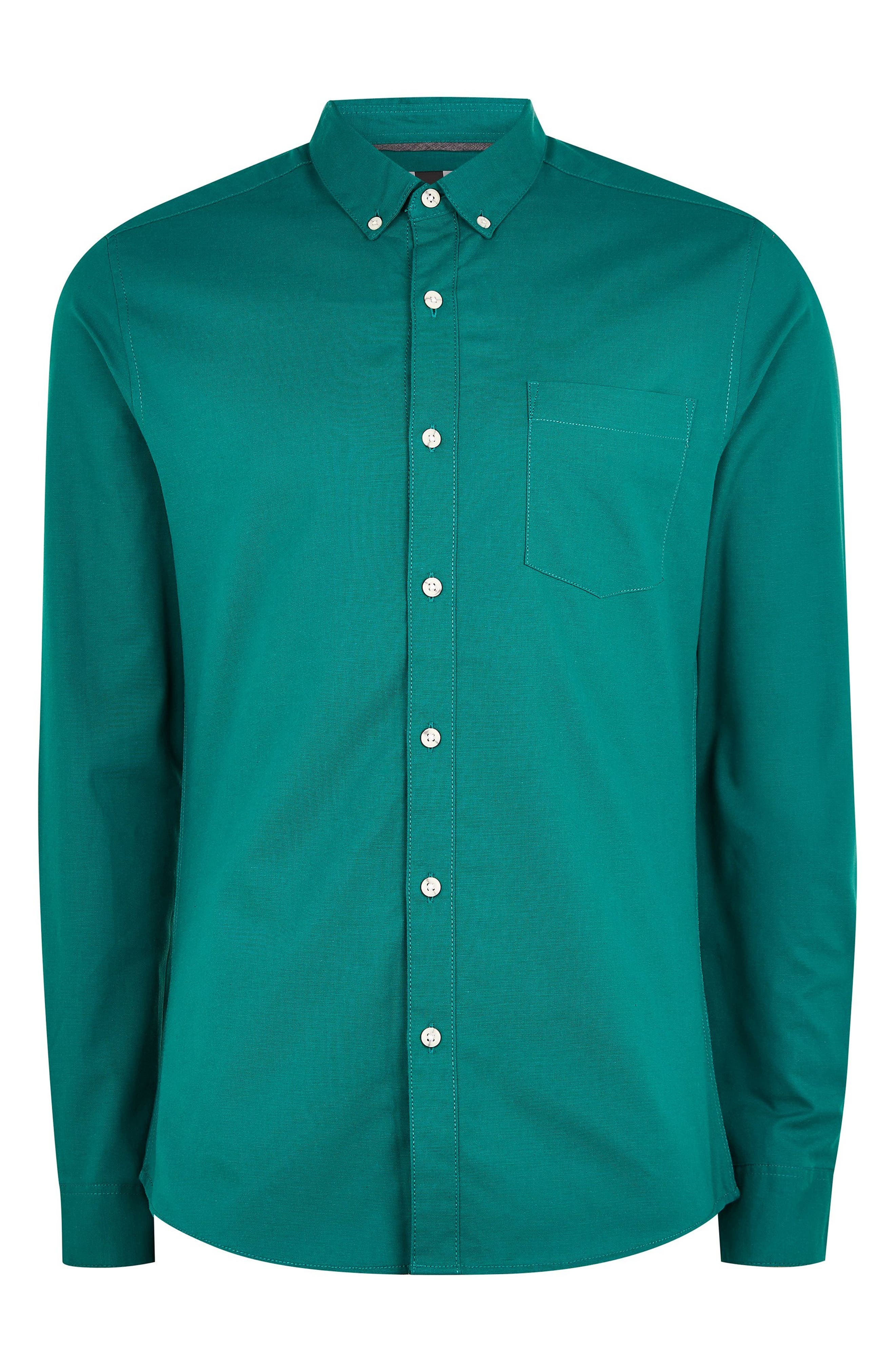 Classic Fit Oxford Shirt,                             Alternate thumbnail 4, color,                             BLUE