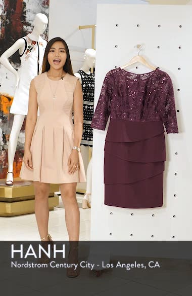 Embroidered Sequin Sheath Dress, sales video thumbnail