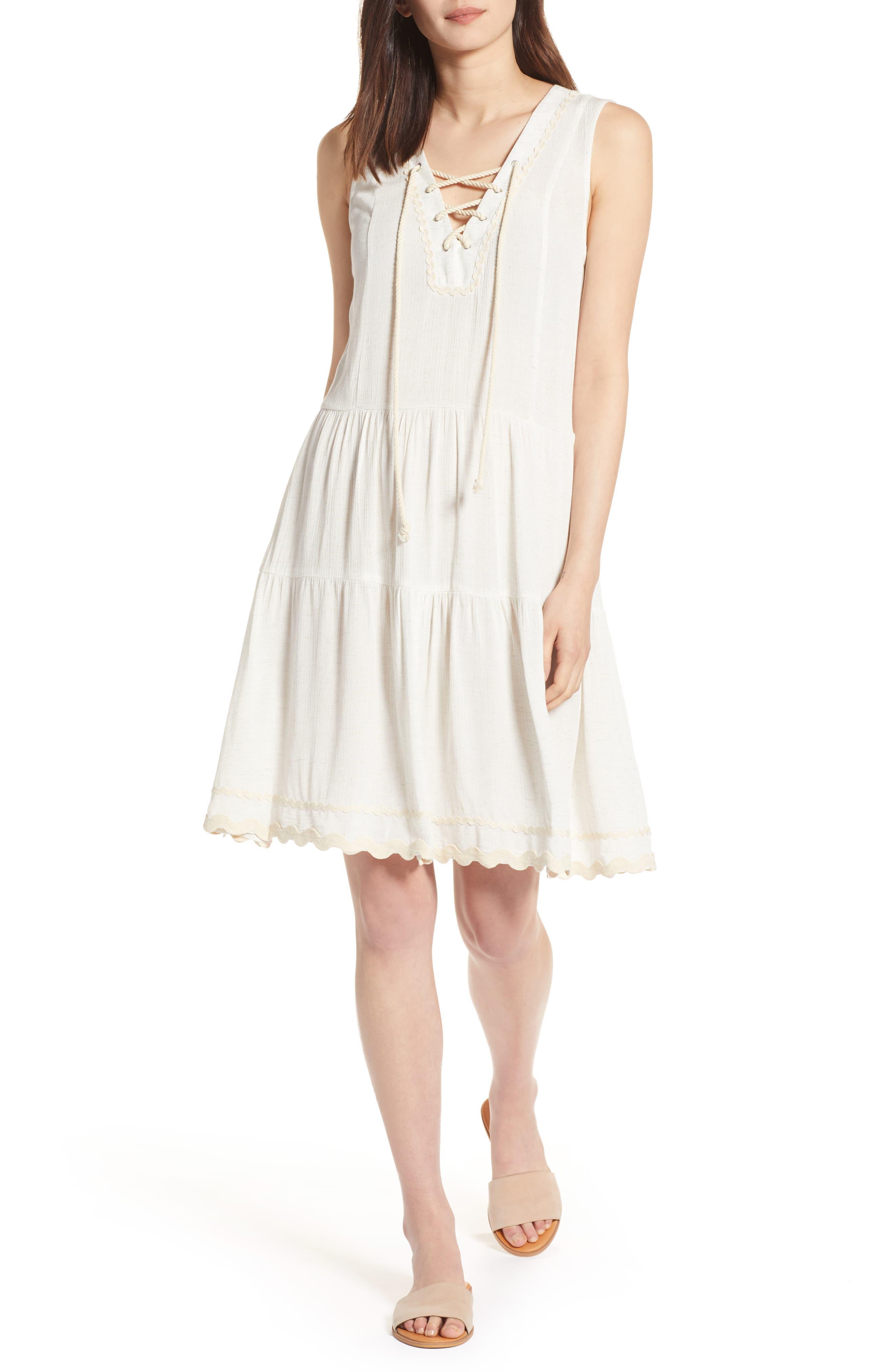 Rickrack Lace-Up Gauze Dress,                         Main,                         color, 101