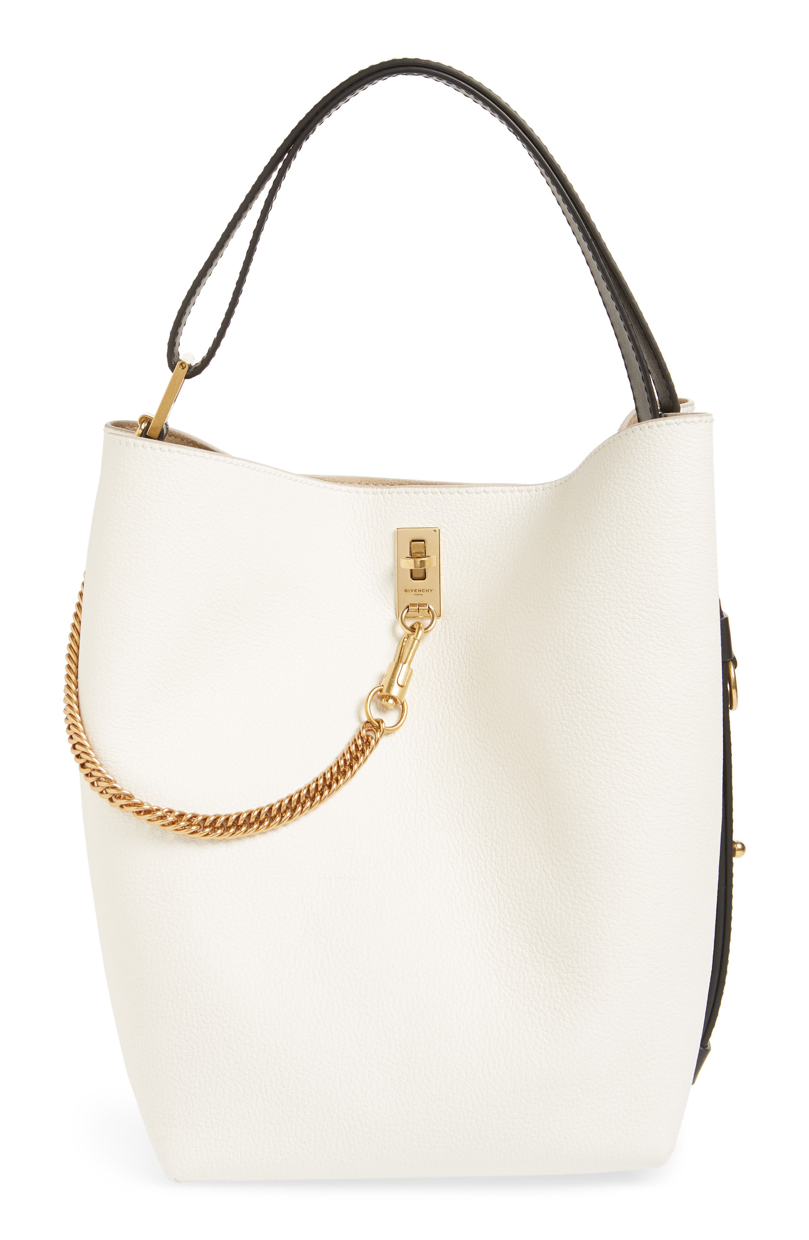 edb3af884f78 Givenchy Gv Bucket Textured-Leather And Suede Shoulder Bag In White