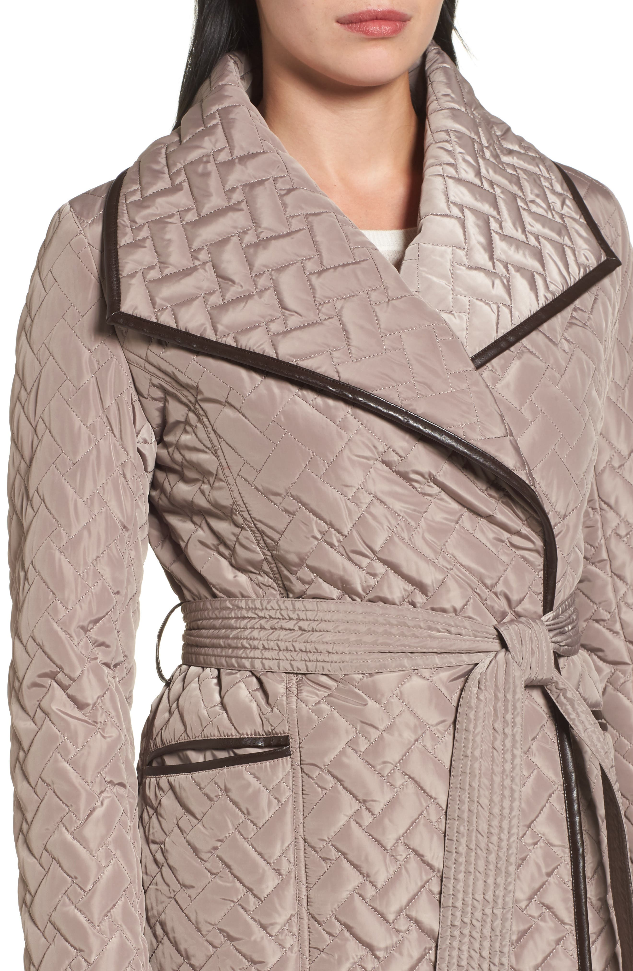 Water Resistant Quilted Wrap Coat,                             Alternate thumbnail 4, color,                             284