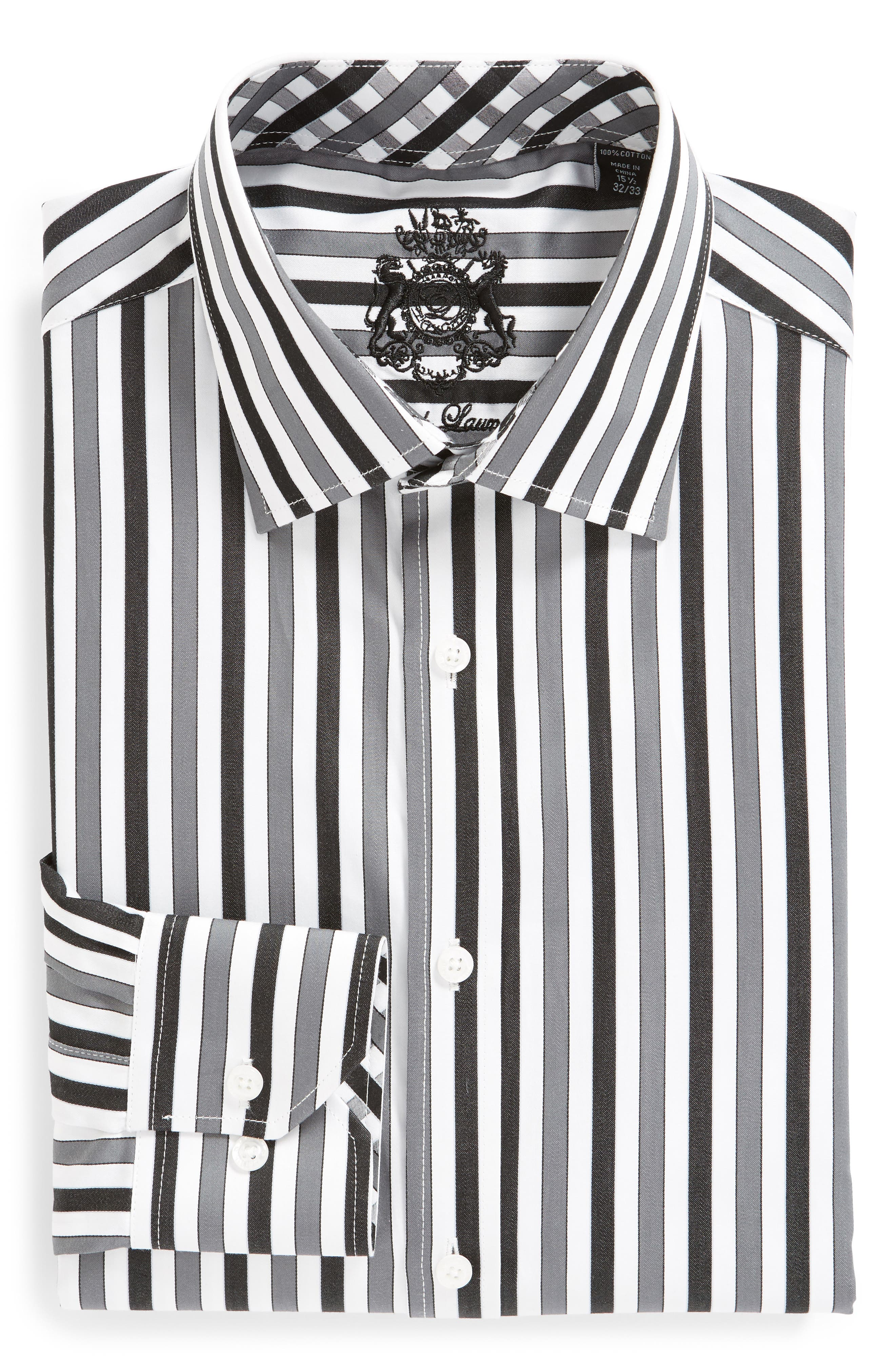 Regular Fit Stripe Dress Shirt,                             Alternate thumbnail 5, color,                             BLACK