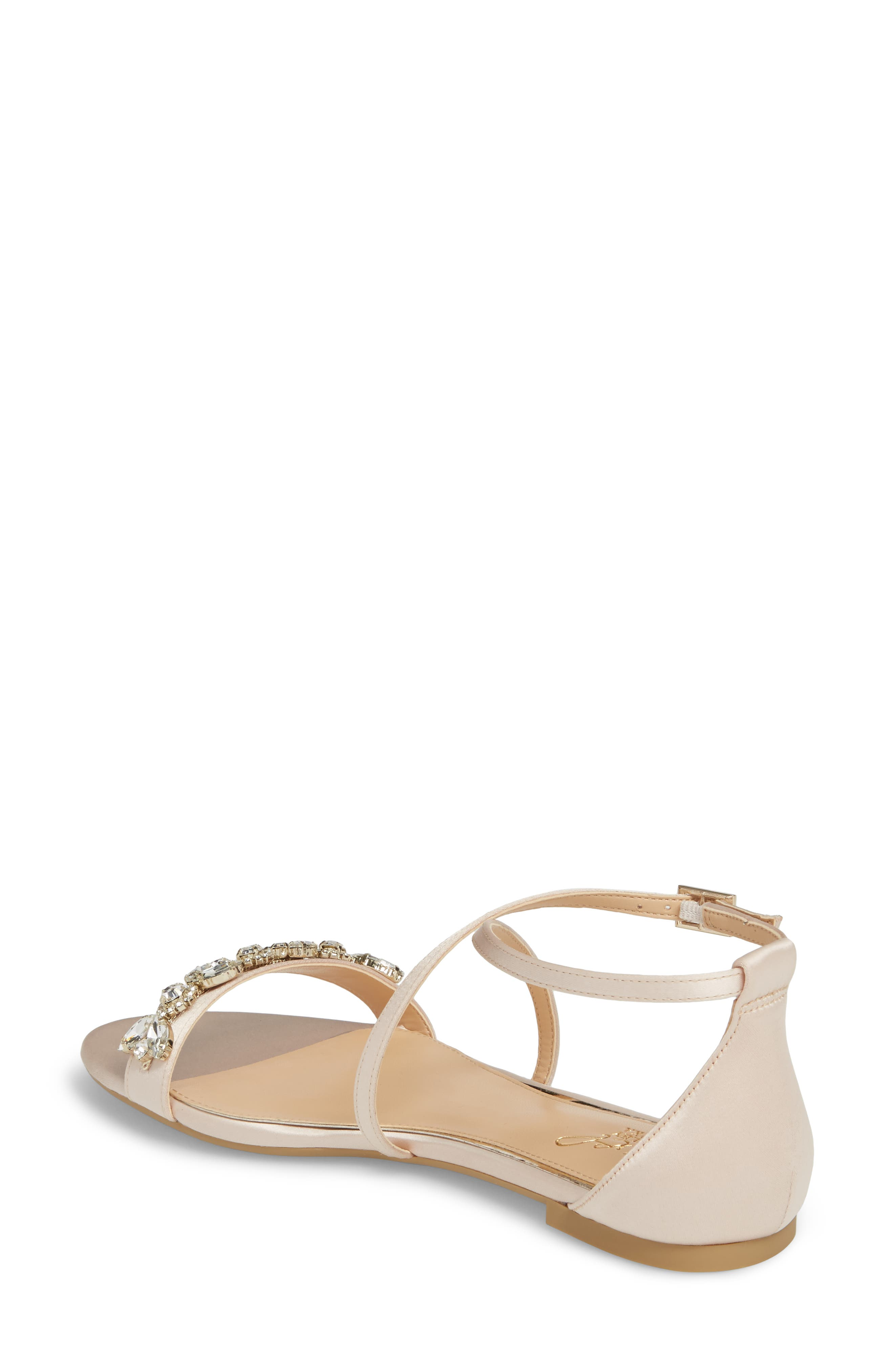 Tessy Embellished Sandal,                             Alternate thumbnail 2, color,                             CHAMPAGNE SATIN