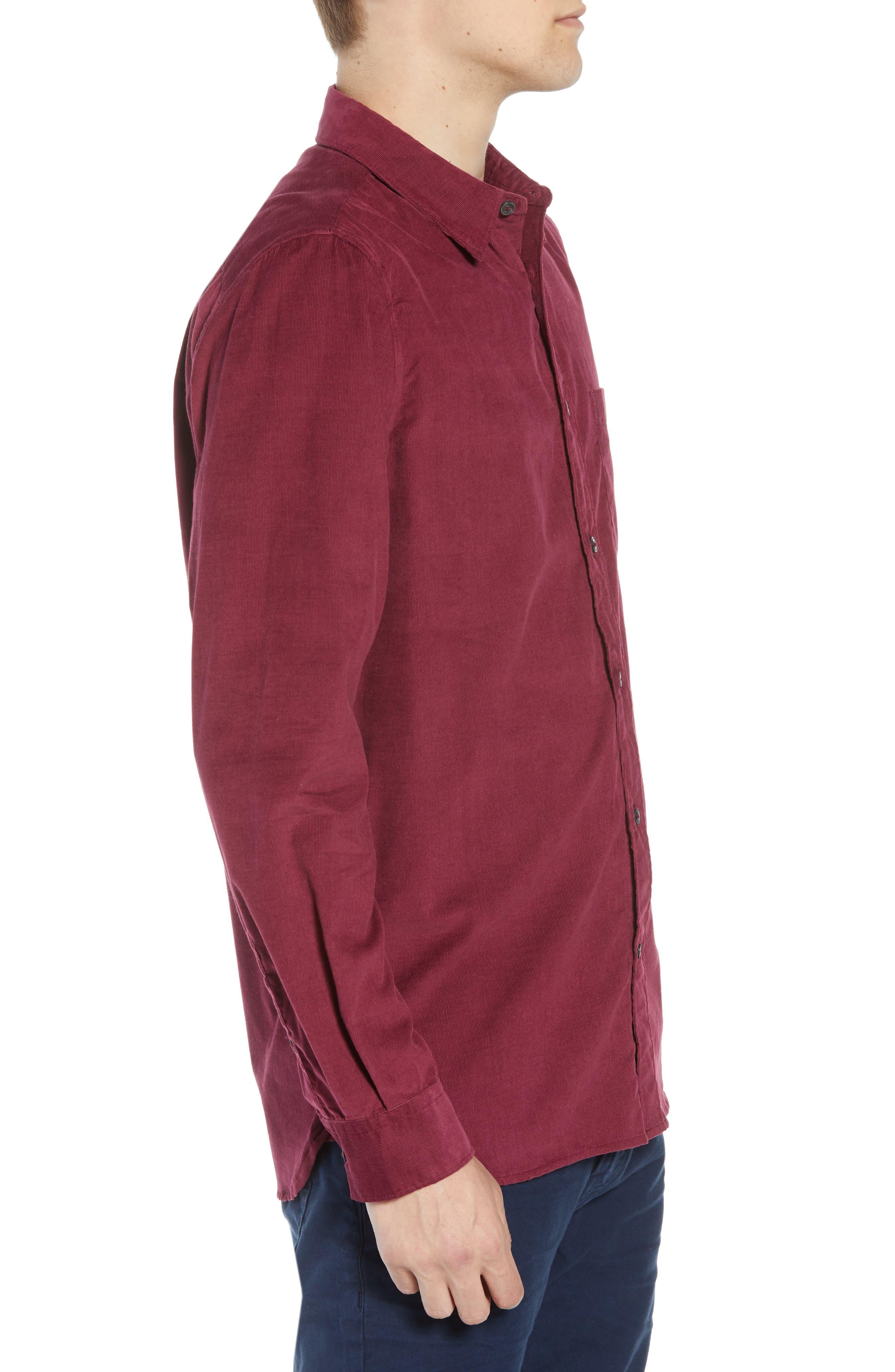 28 Wales Regular Fit Corduroy Shirt,                             Alternate thumbnail 4, color,                             RASPBERRY BERET