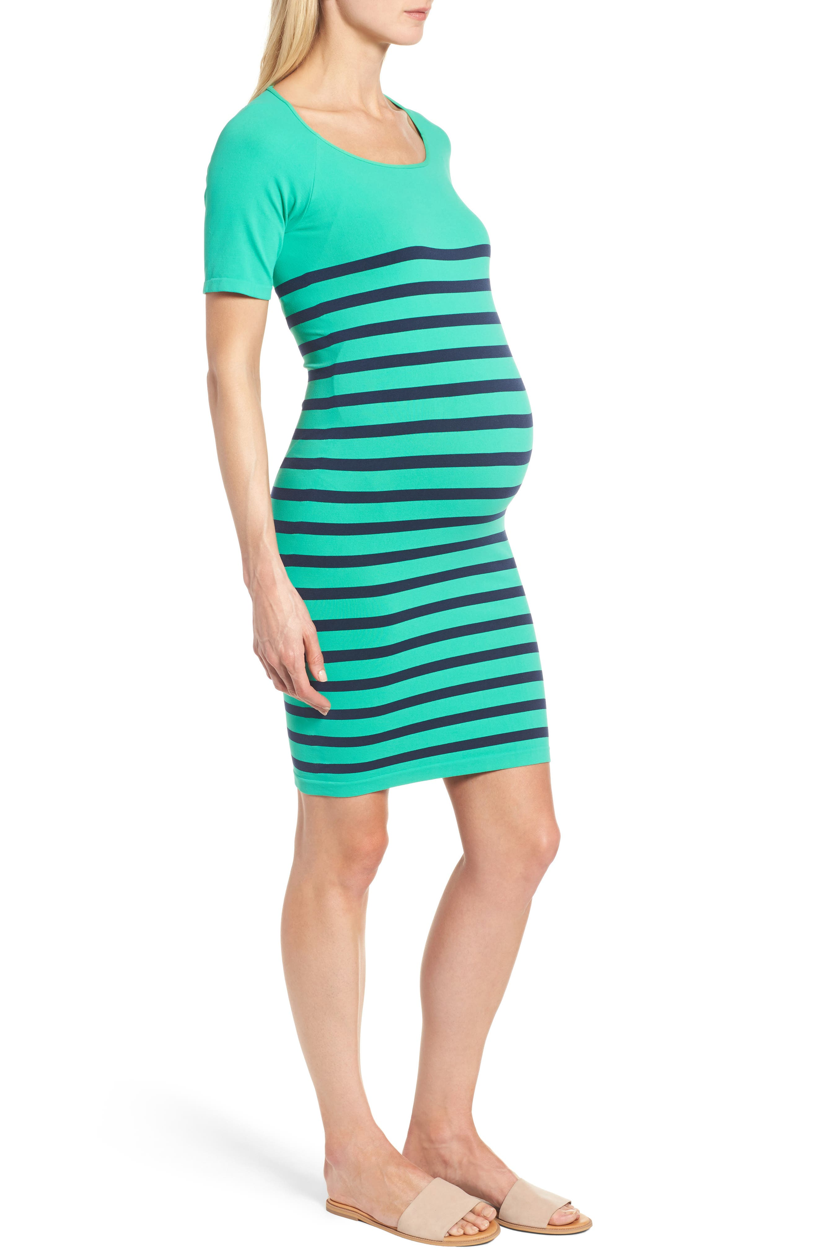 Nautical Maternity Dress,                             Alternate thumbnail 3, color,                             300