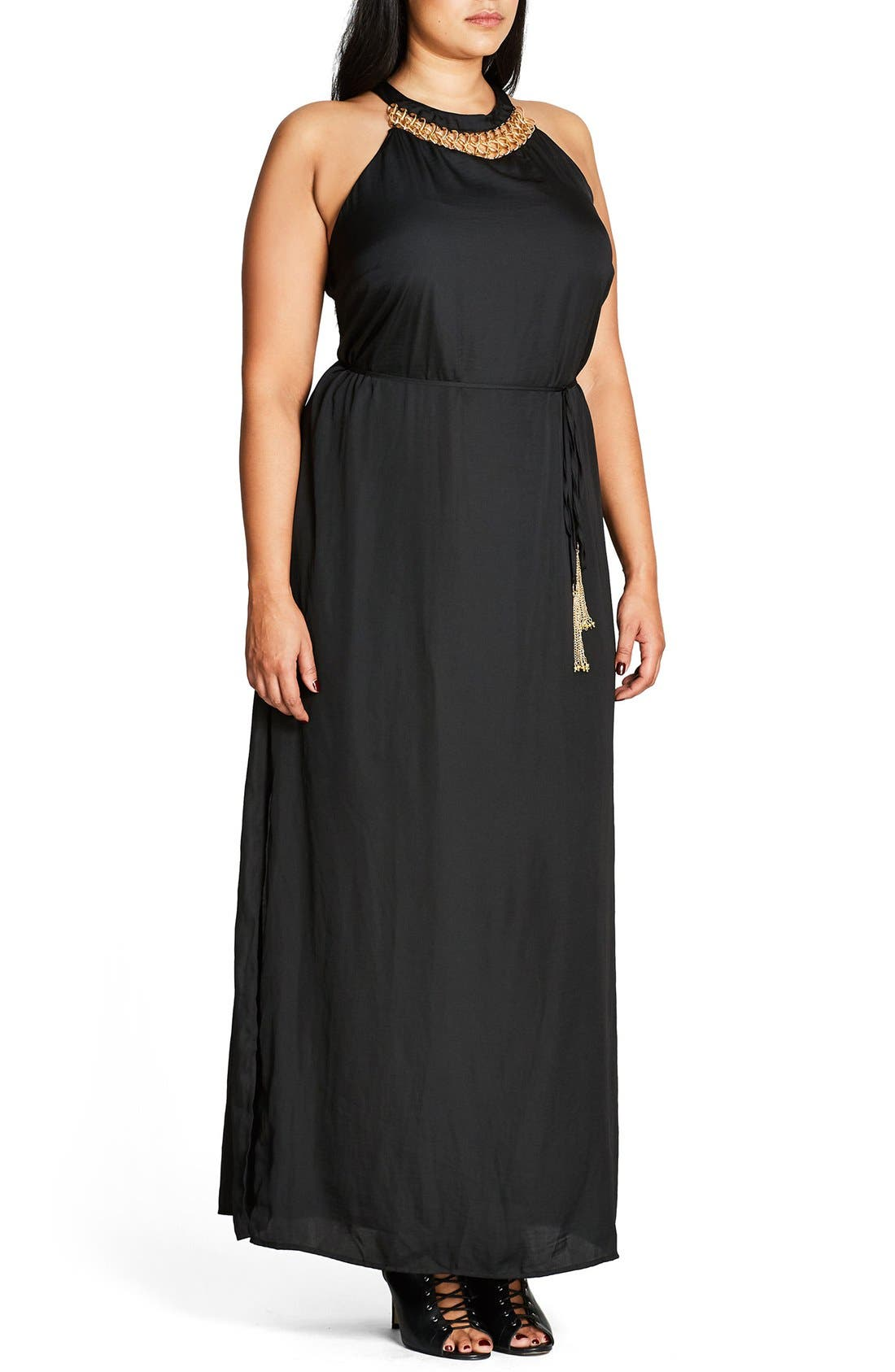 Ring Detail Maxi Dress,                             Alternate thumbnail 8, color,                             001