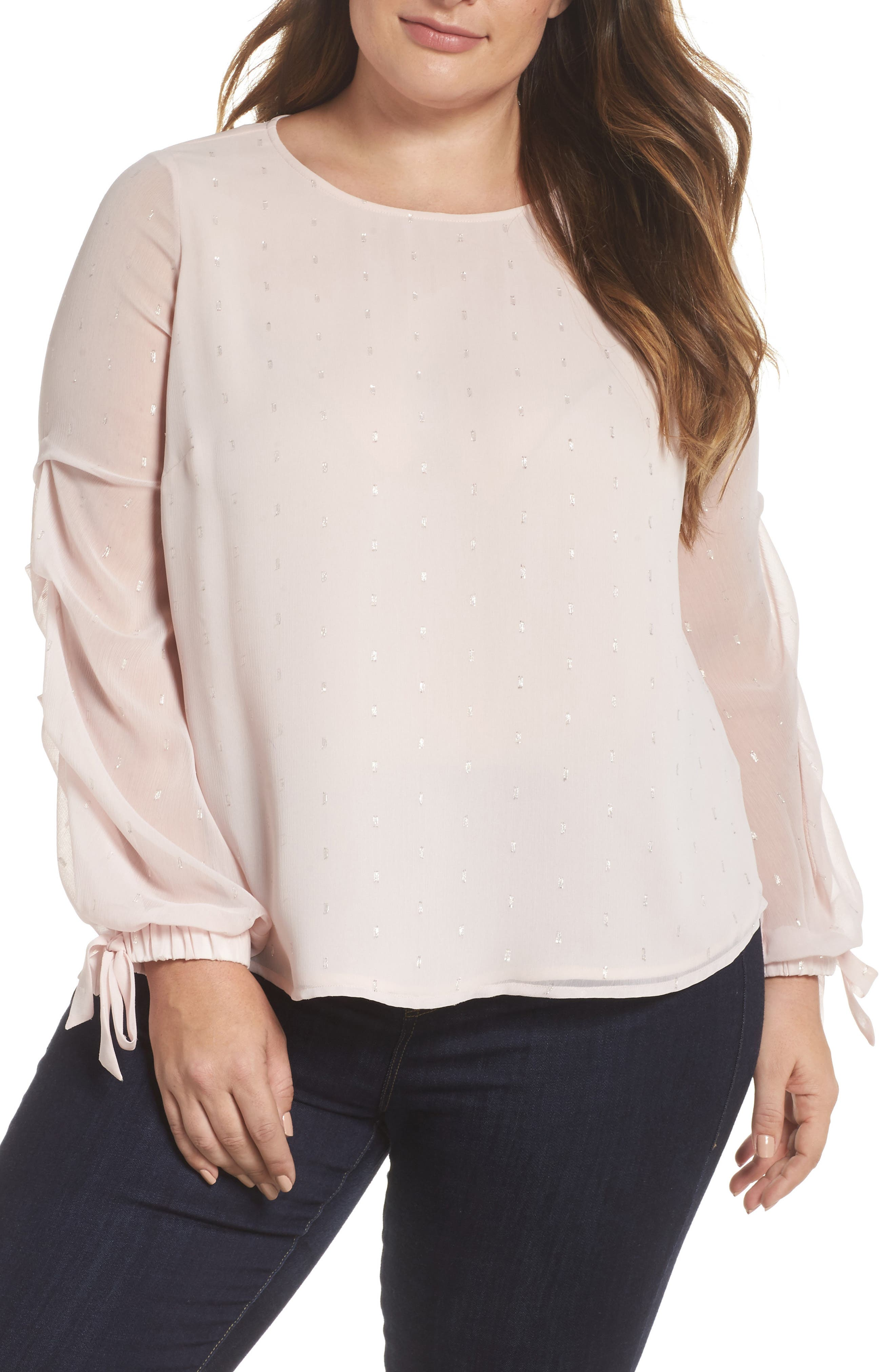 Tiered Tie Cuff Chiffon Blouse,                             Main thumbnail 1, color,                             PINK MIST
