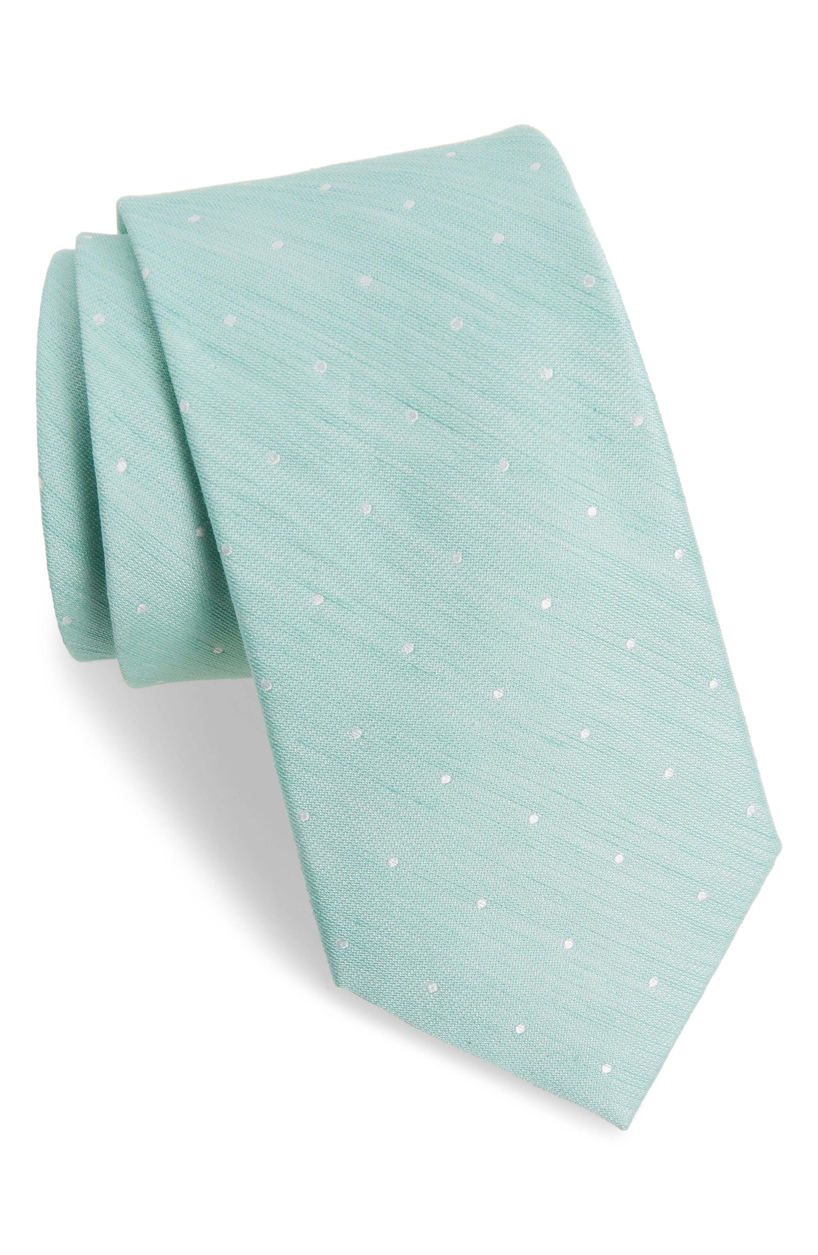 THE TIE BAR,                             Dot Silk & Linen Tie,                             Main thumbnail 1, color,                             300