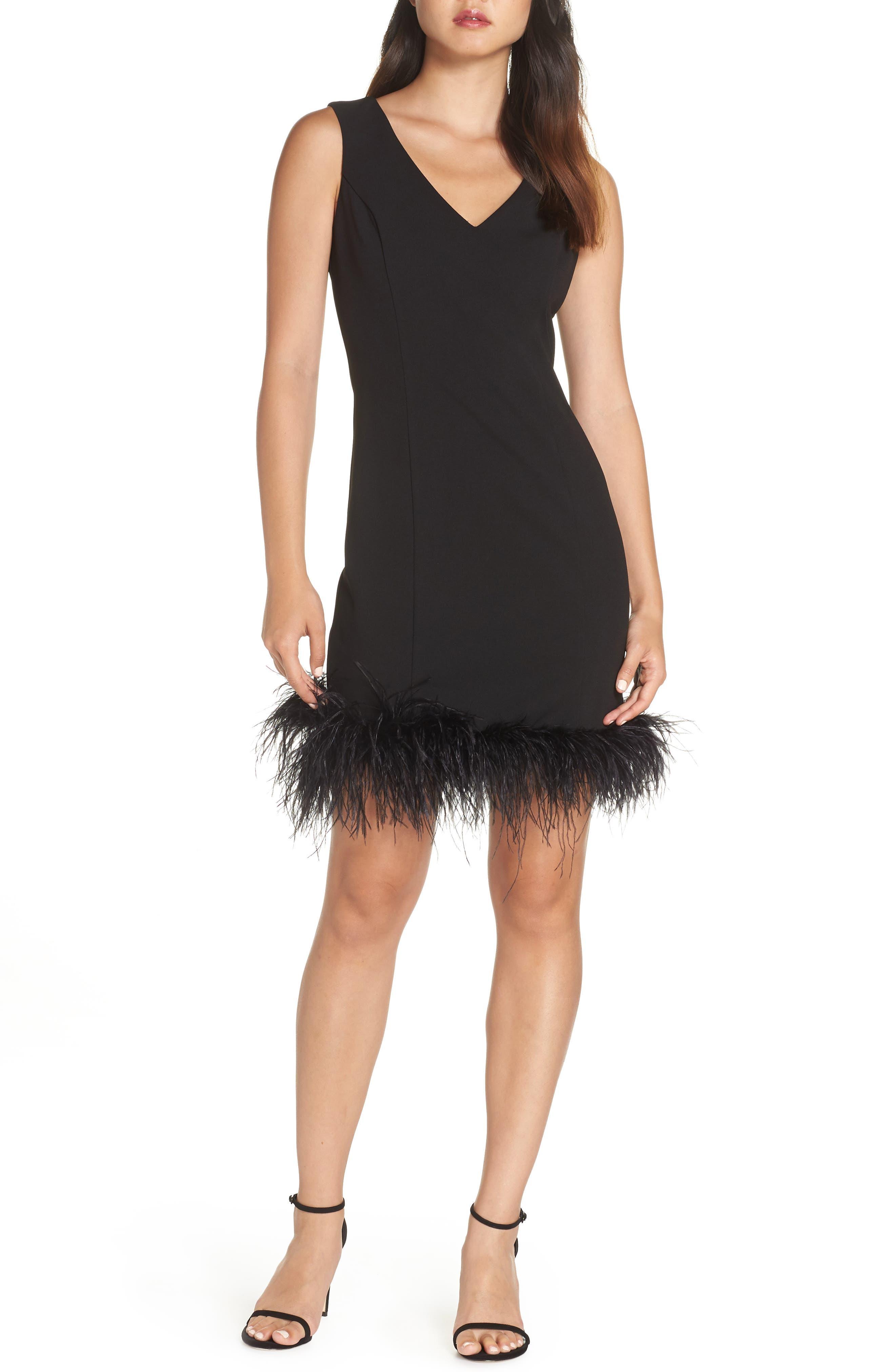 Eliza J Feather Trim Body-Con Dress, Black