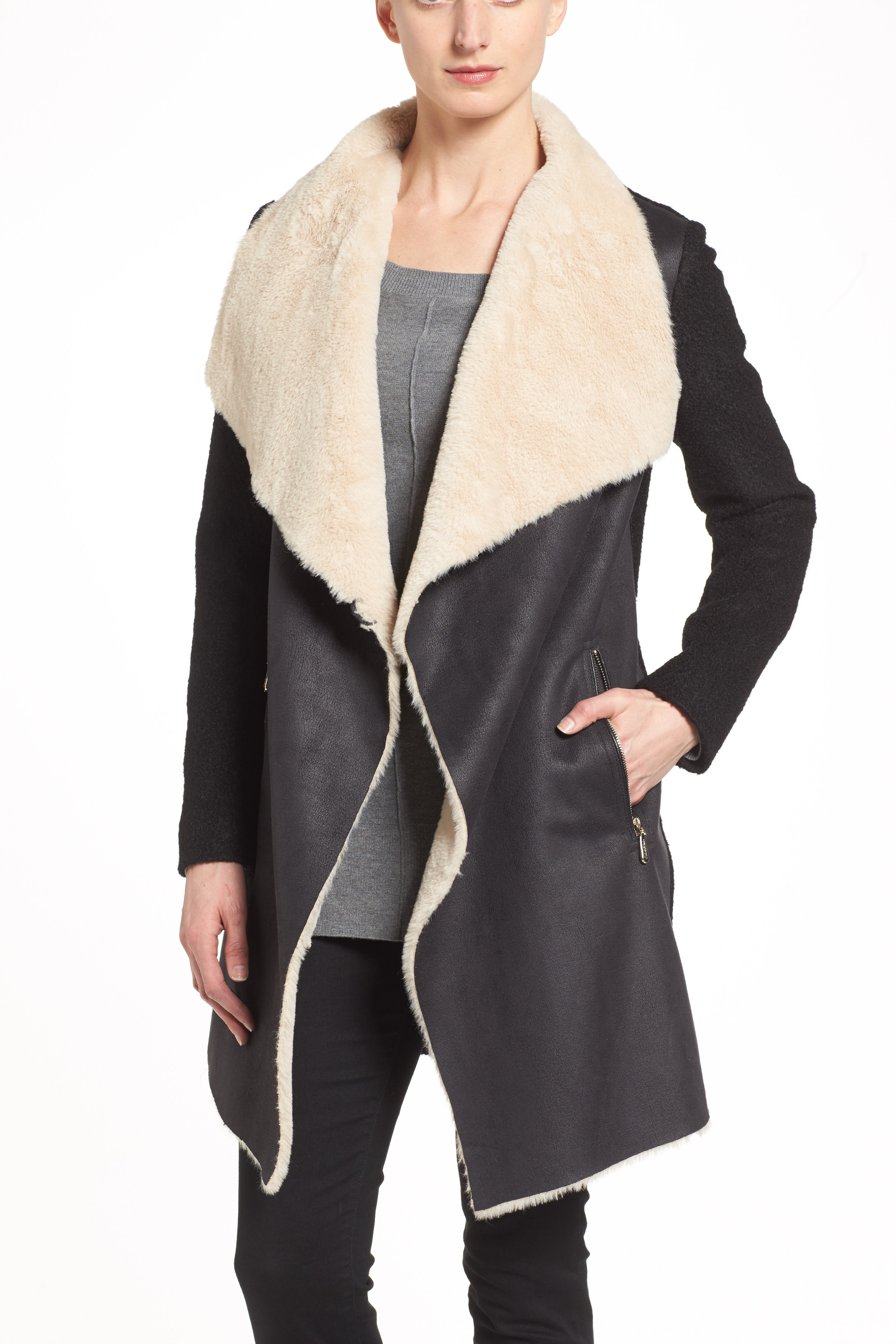 Mixed Media Coat with Faux Shearling Front,                             Alternate thumbnail 5, color,                             001