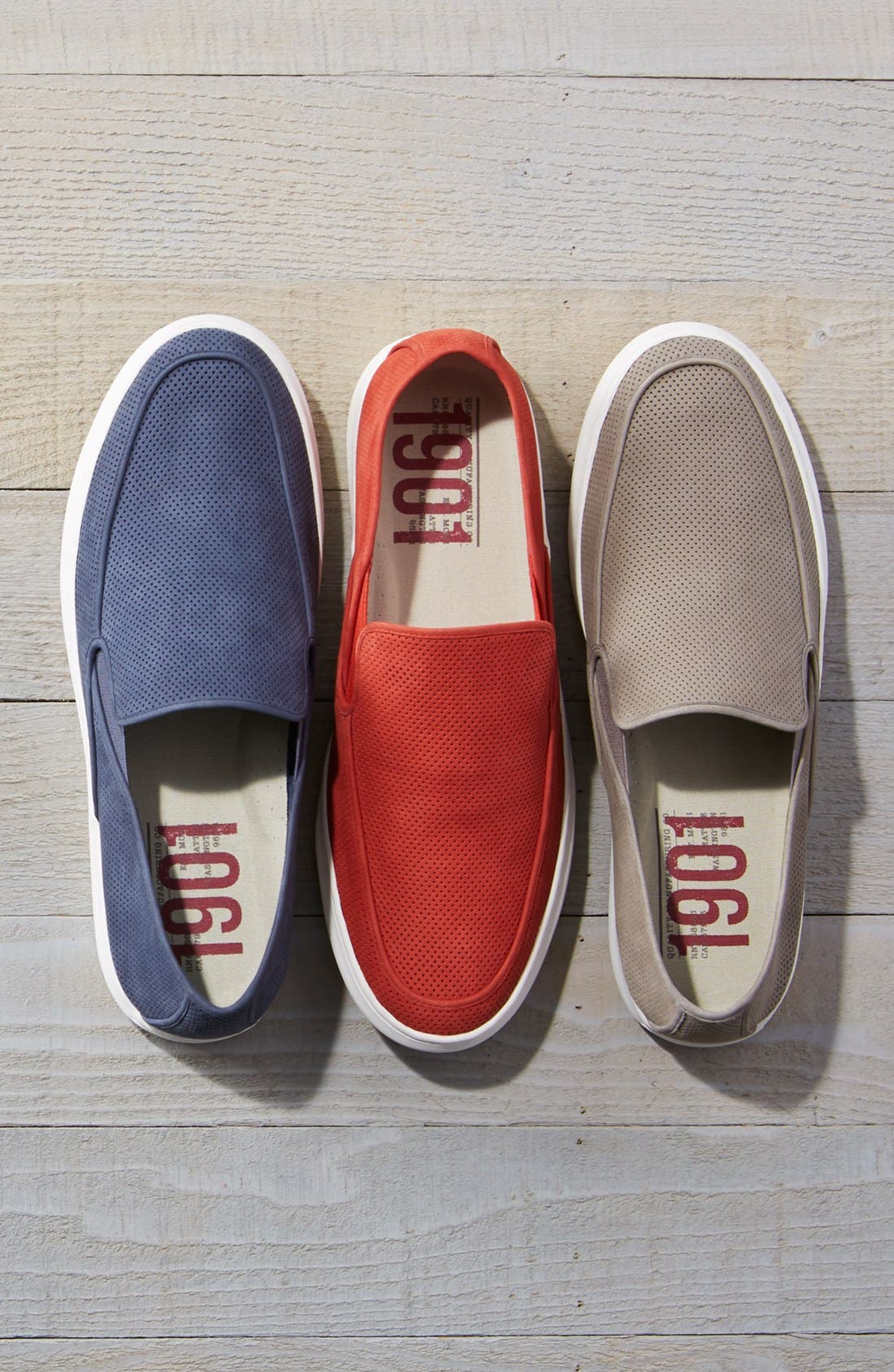 'Venice' Perforated Suede Slip-On,                             Alternate thumbnail 7, color,                             BLACK NUBUCK