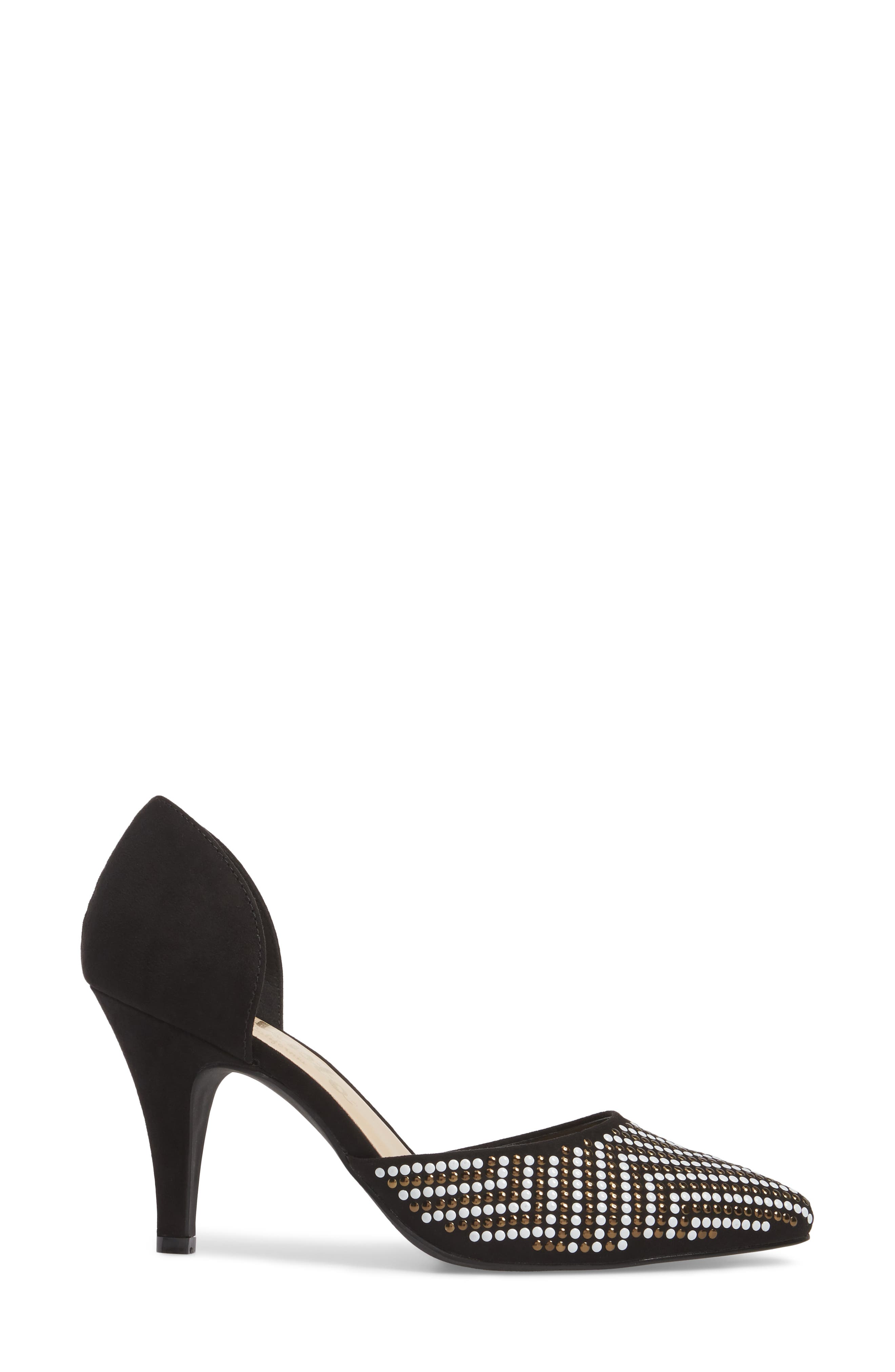 Mimosa Studded d'Orsay Pump,                             Alternate thumbnail 3, color,                             BLACK SUEDE