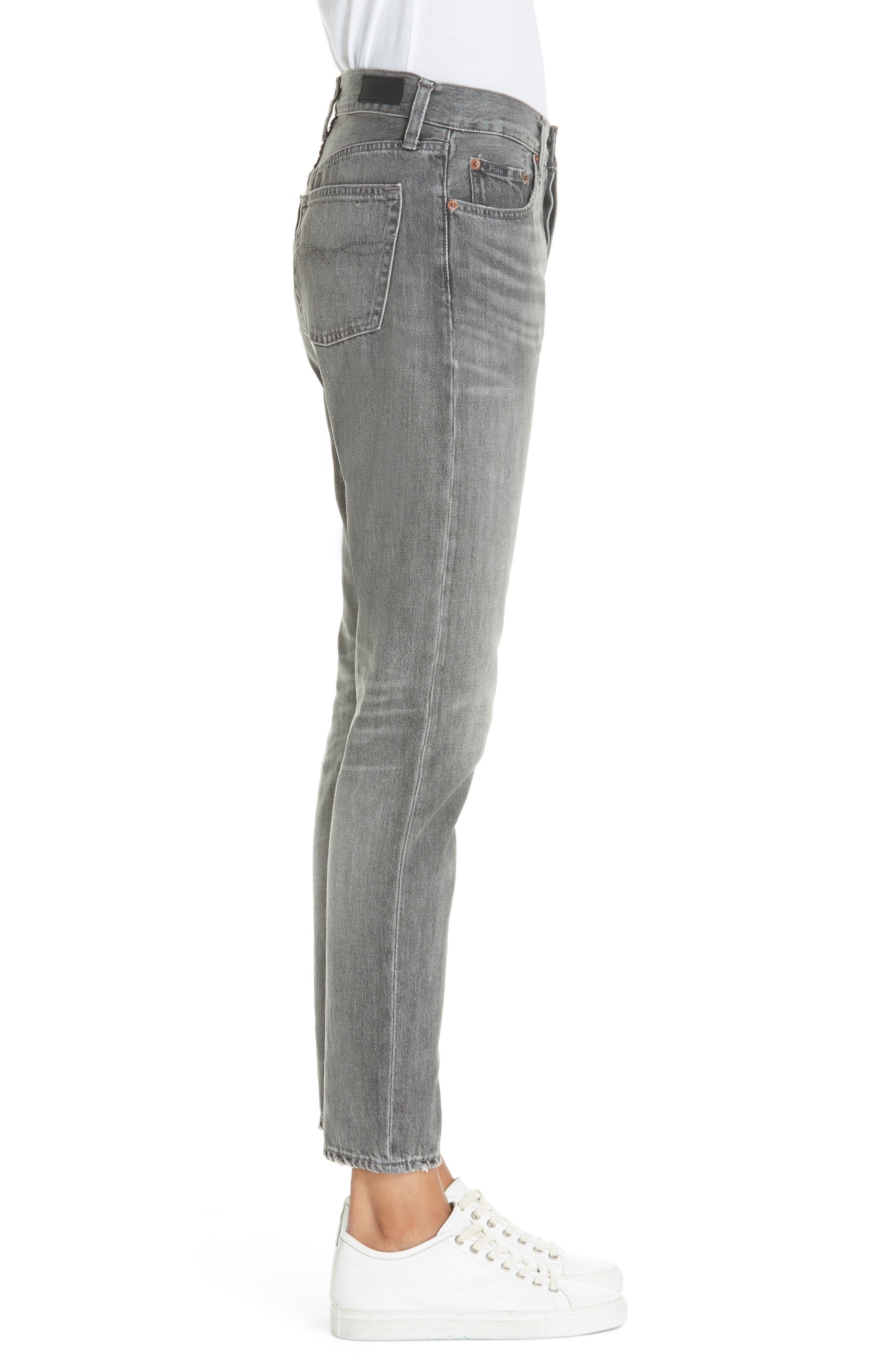 High Waist Slim Straight Crop Jeans,                             Alternate thumbnail 3, color,                             GREY
