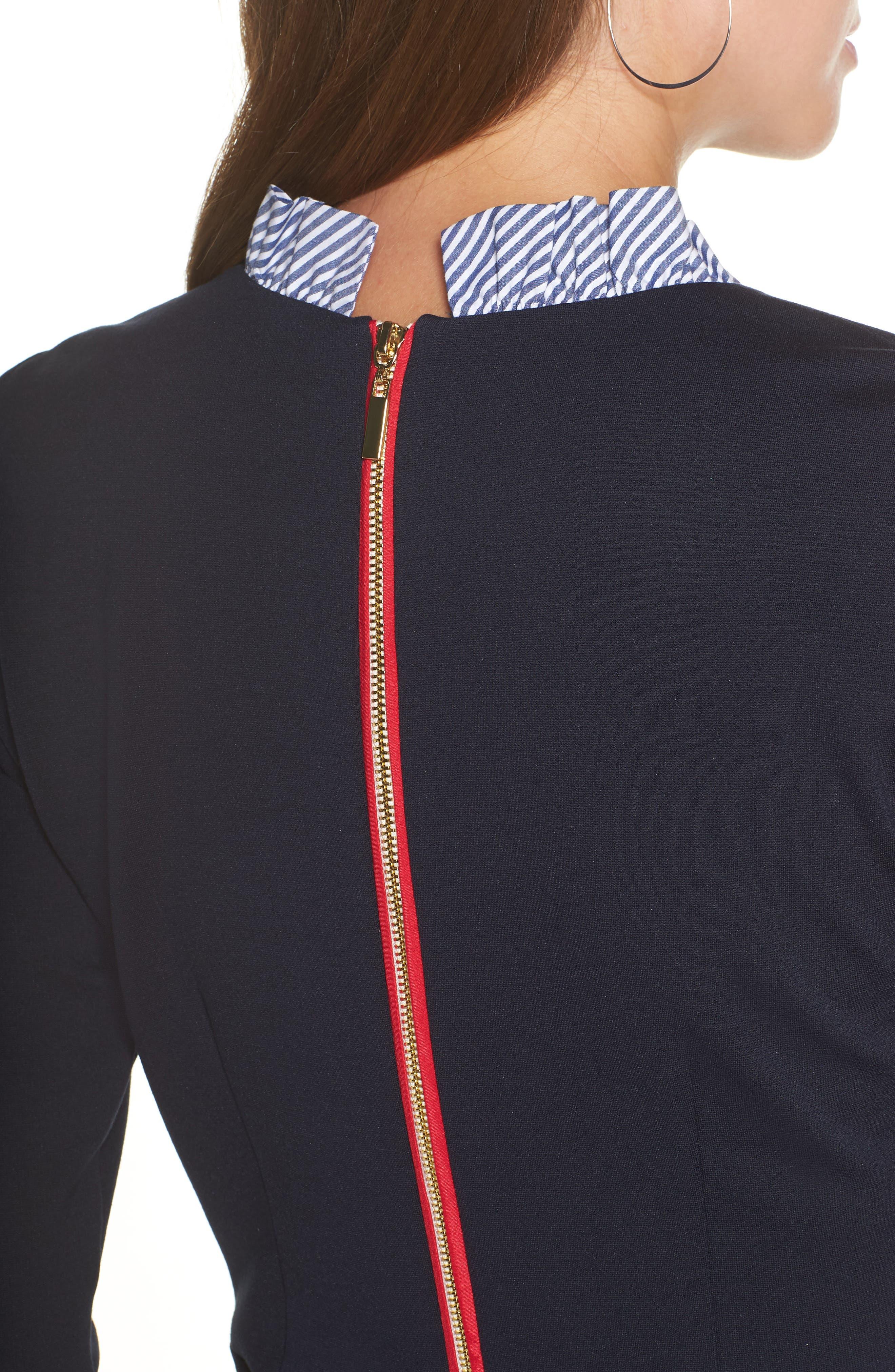 Long Sleeve Ruffle Detail Shirtdress,                             Alternate thumbnail 6, color,                             NAVY