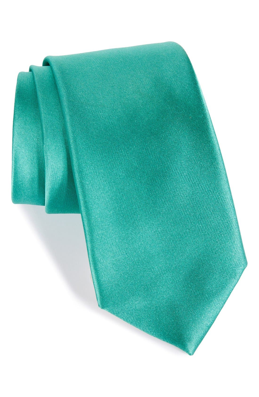 Solid Satin Silk Tie,                             Main thumbnail 7, color,